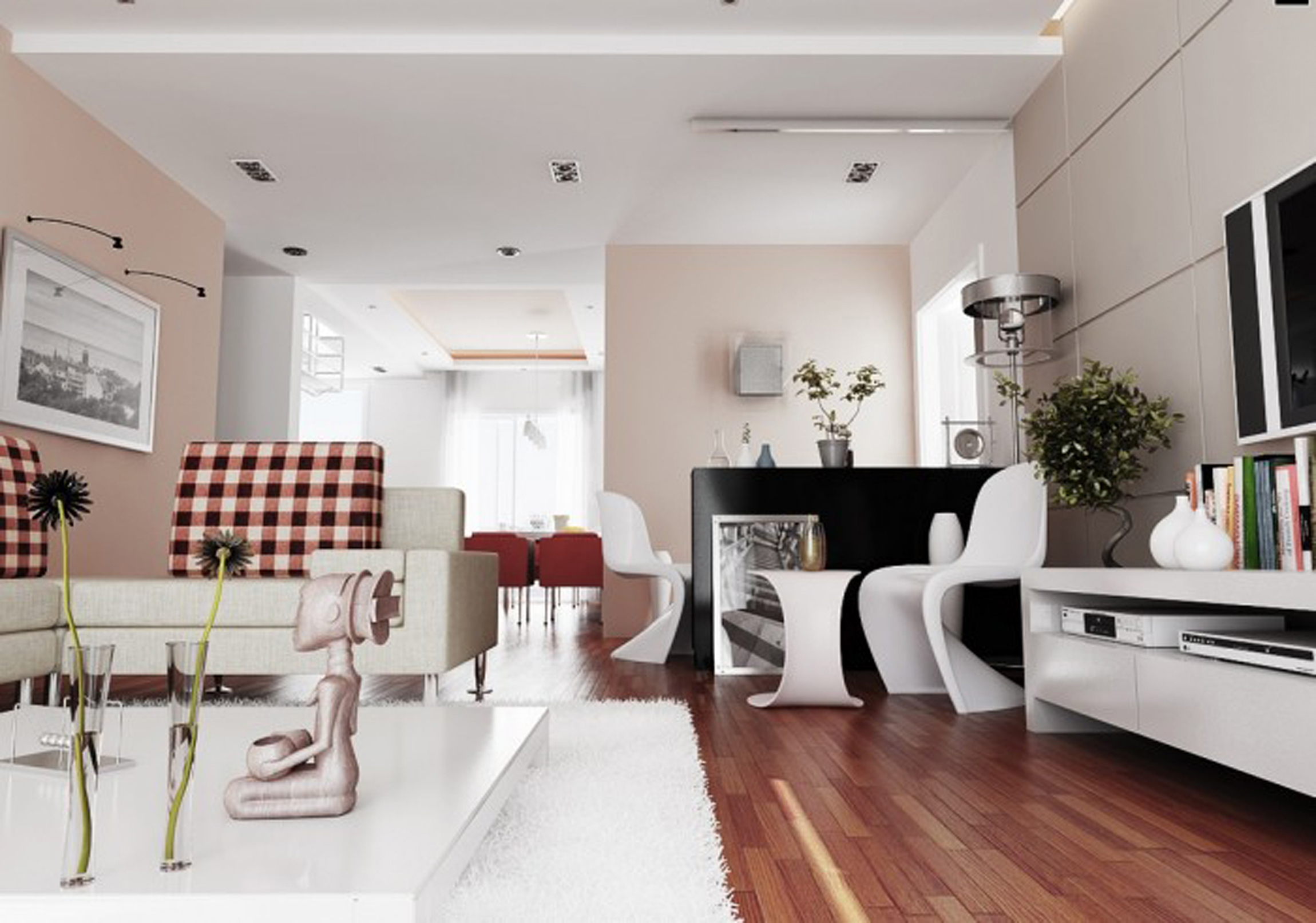 Modern Living Room Decoration Wonderful Human Scuplture With Fancy White Seat On Parquet Floor Awesome Modern Living Rooms Design Ideas (Image 14 of 30)