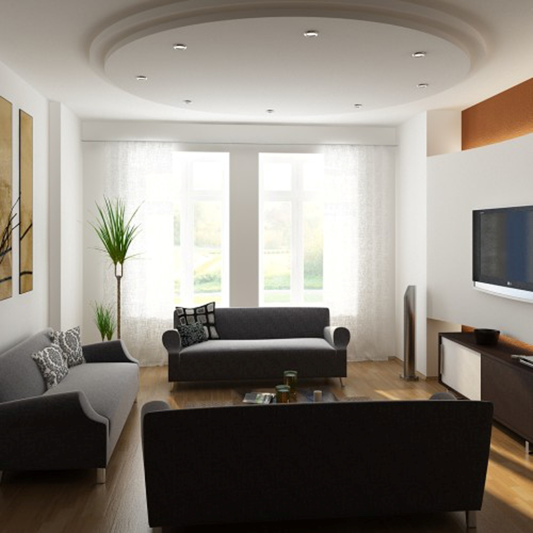 Modern Living Room Design Ideas With Wonderful Modern Rounded Drop Ceiling Ideas Also Interesting Modern Sofa Design (Image 16 of 30)