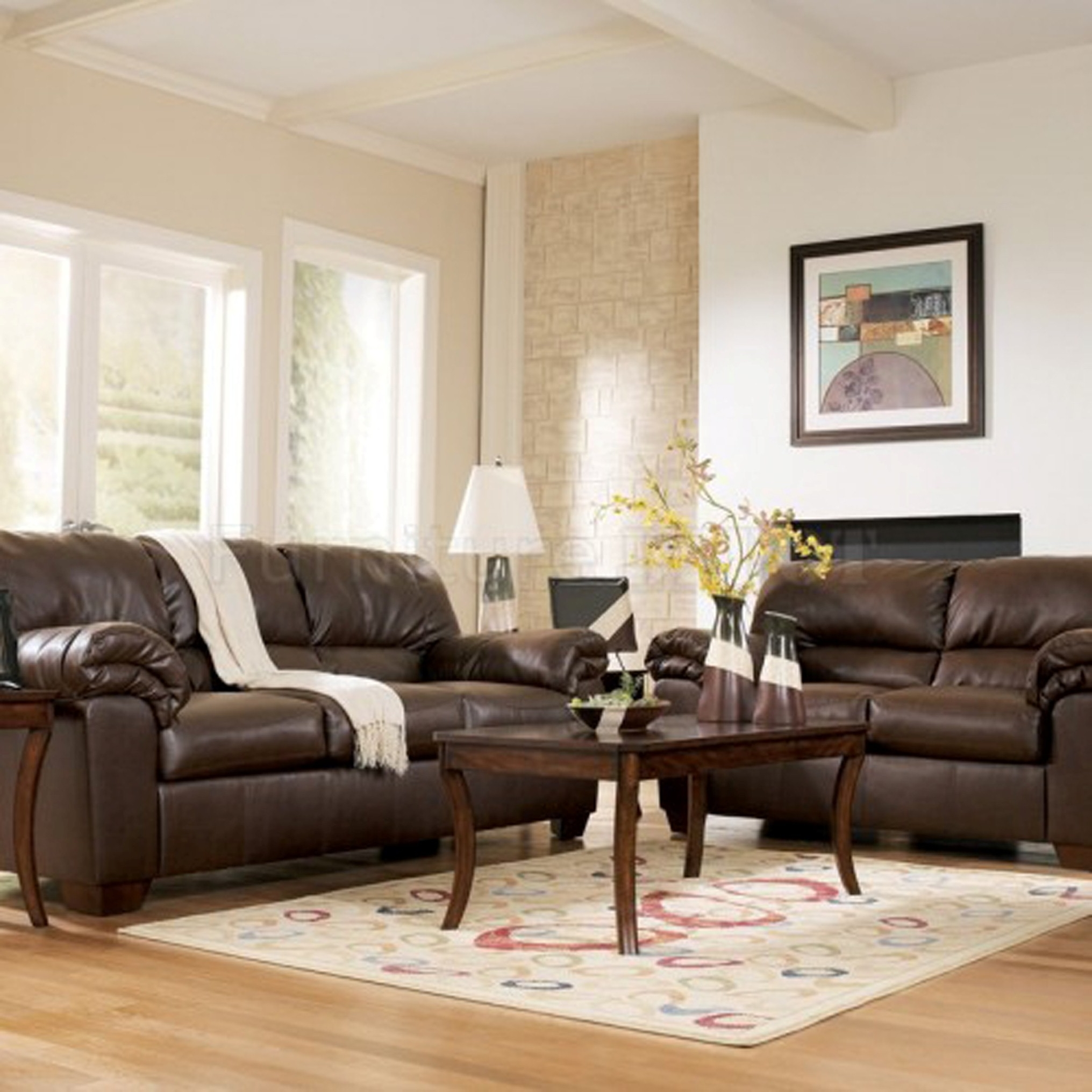 Modern Living Room Ideas With Fetching Brown Leather Sofa Plus Adorable Teak Wood Coffee Table Design And Wonderful Beige And White Living Room Theme Nuance (Image 19 of 30)