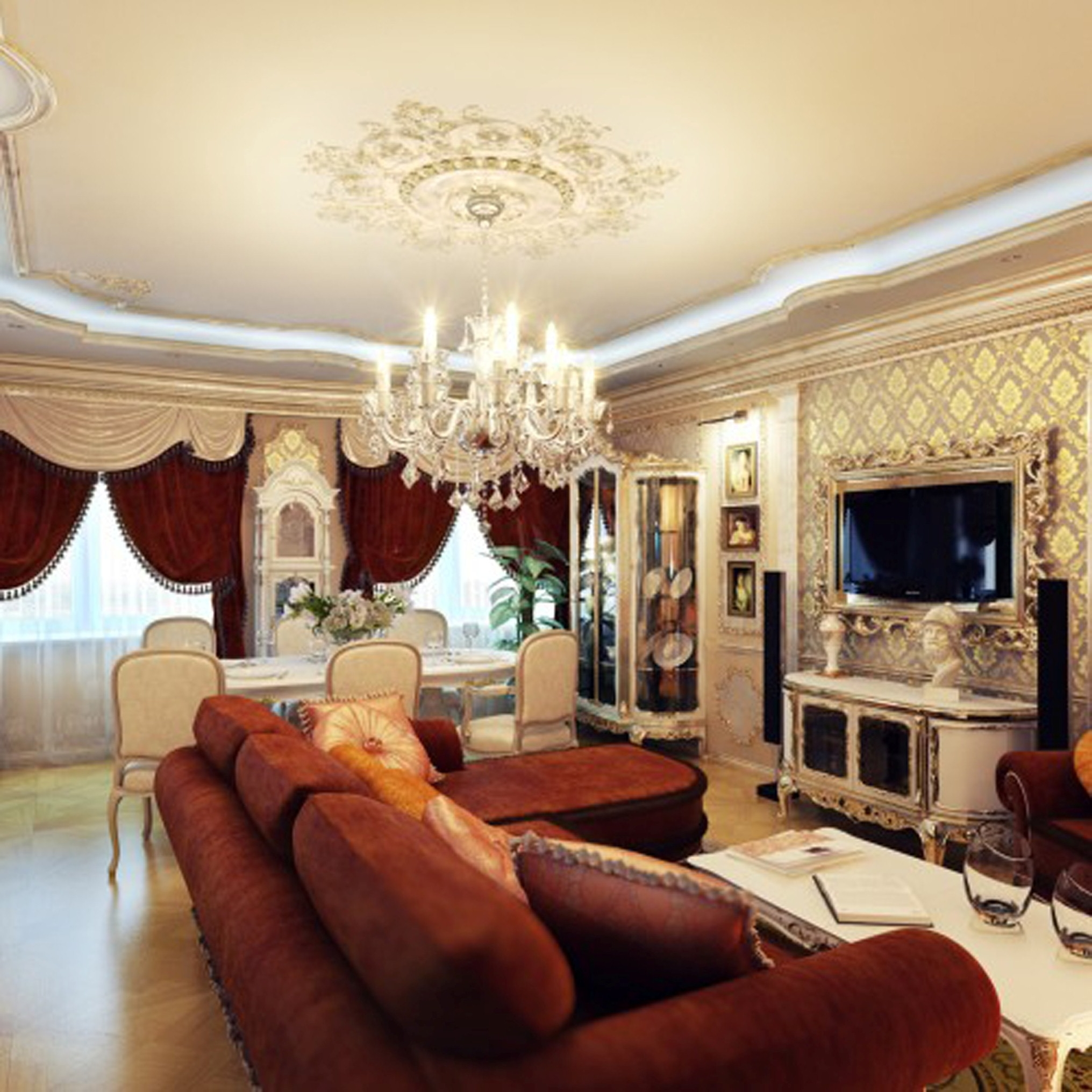 modern-living-room-royal-touch-design-with-alluring-red-fabric-sofa-also-stunning-wall-cream-theme-decorate