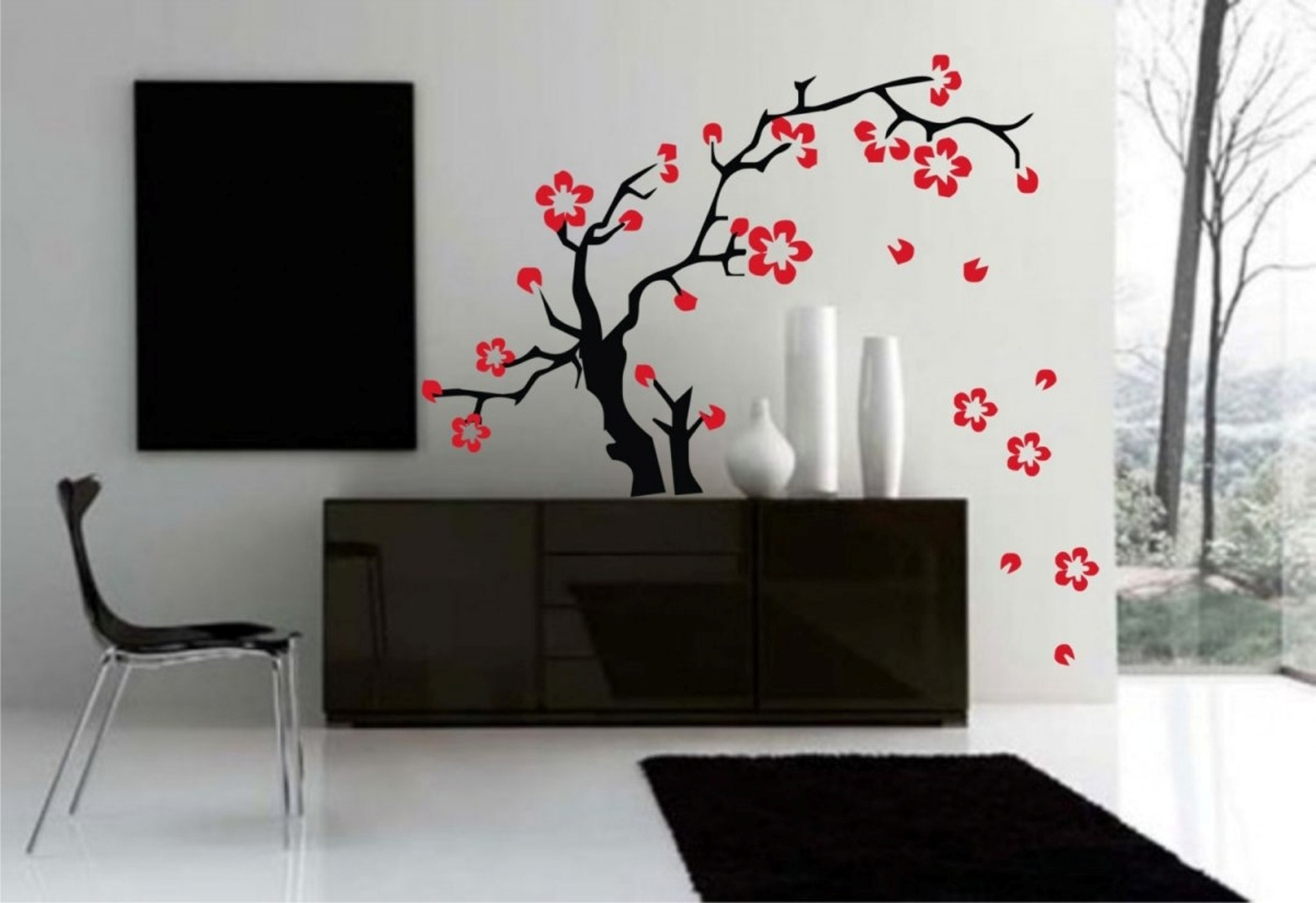Modern Living Room With Awesome Wall Sakura Tree Paint Design Also Licious Modern Chair Ideas (Image 24 of 30)