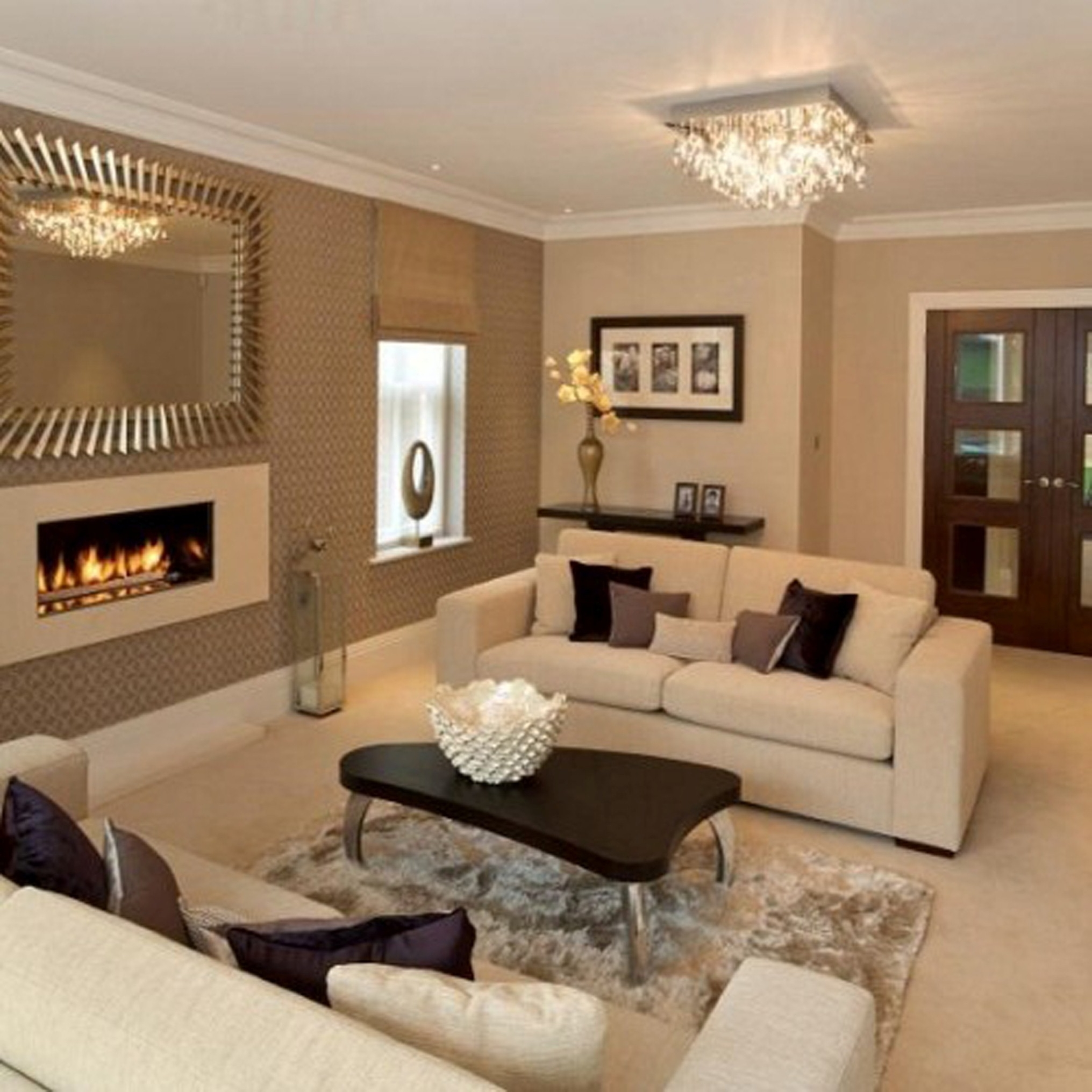 Modern Living Room With Exquisite Wall Fireplace Plus Pretty Unique Coffee Table Curve Design (View 7 of 30)