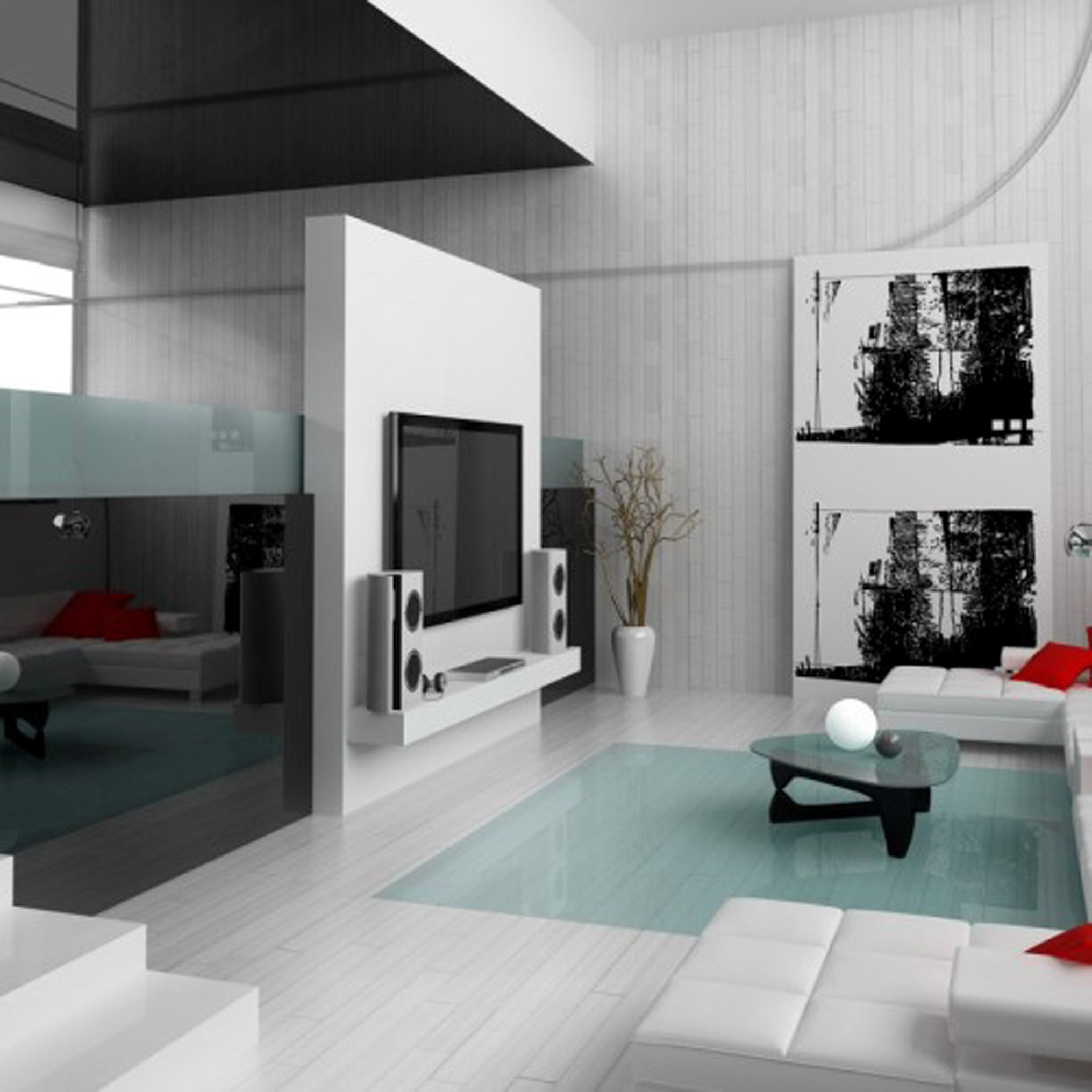 Modern Living Space Decoration With Delectable White Staircase Design Even Beauteous Red Cushions Decor (Image 28 of 30)
