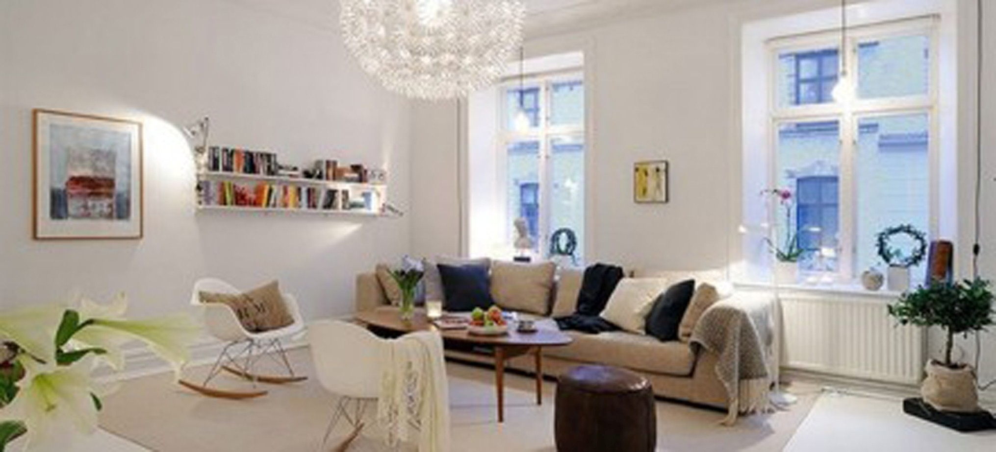 Modern Living Space Design Ideas With Terrific Glossy Rounded Lamp Also Smart Modern Books Shelf Decor (Image 29 of 30)