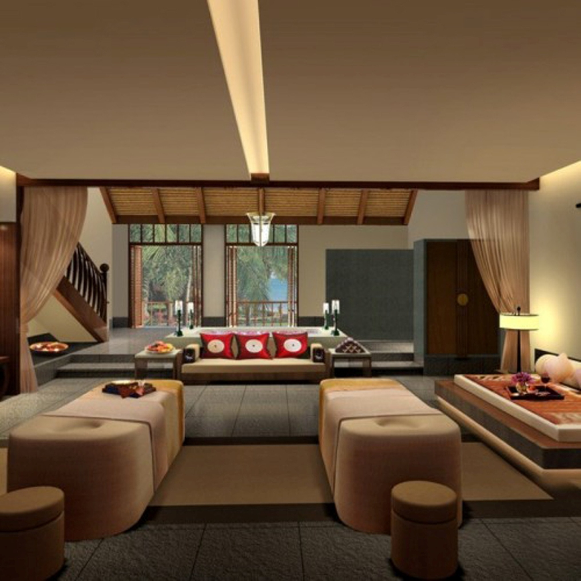 Modern Living Space Design With Divine Ceiling Light Ideas Even Beautiful Pouff Decorate Interior (Image 30 of 30)