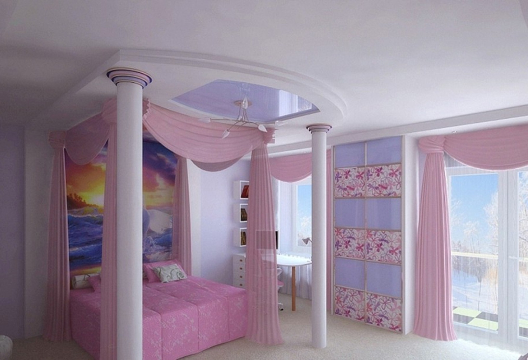 neat-inspirational-pink-purple-teenage-bedroom-decorating-idea-with-white-poles-also-glass-doors-design