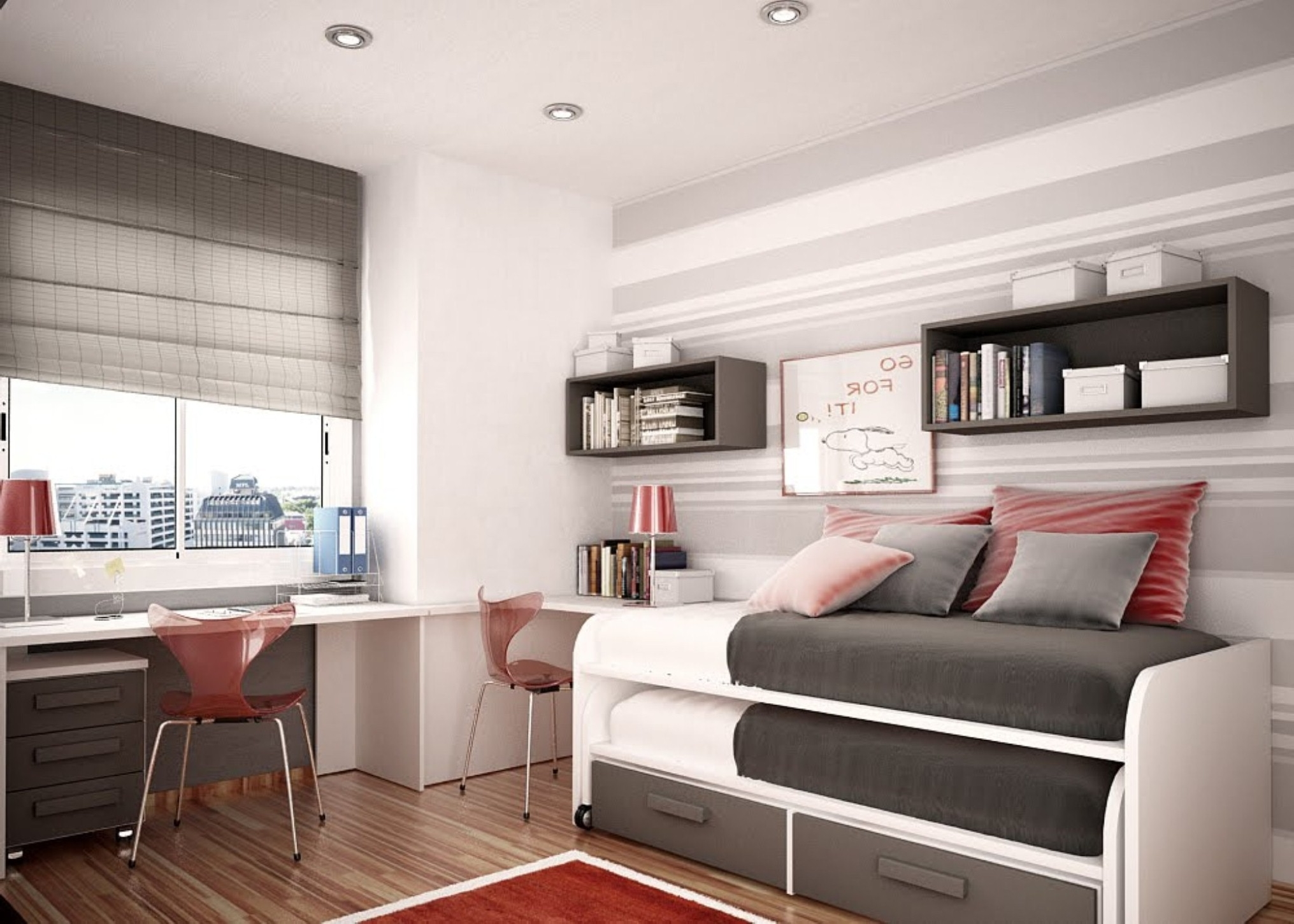 neat-inspirational-space-saving-pull-bunk-bed-design-feat-red-clear-desk-chair-and-chic-gray-bedroom-wall-paint