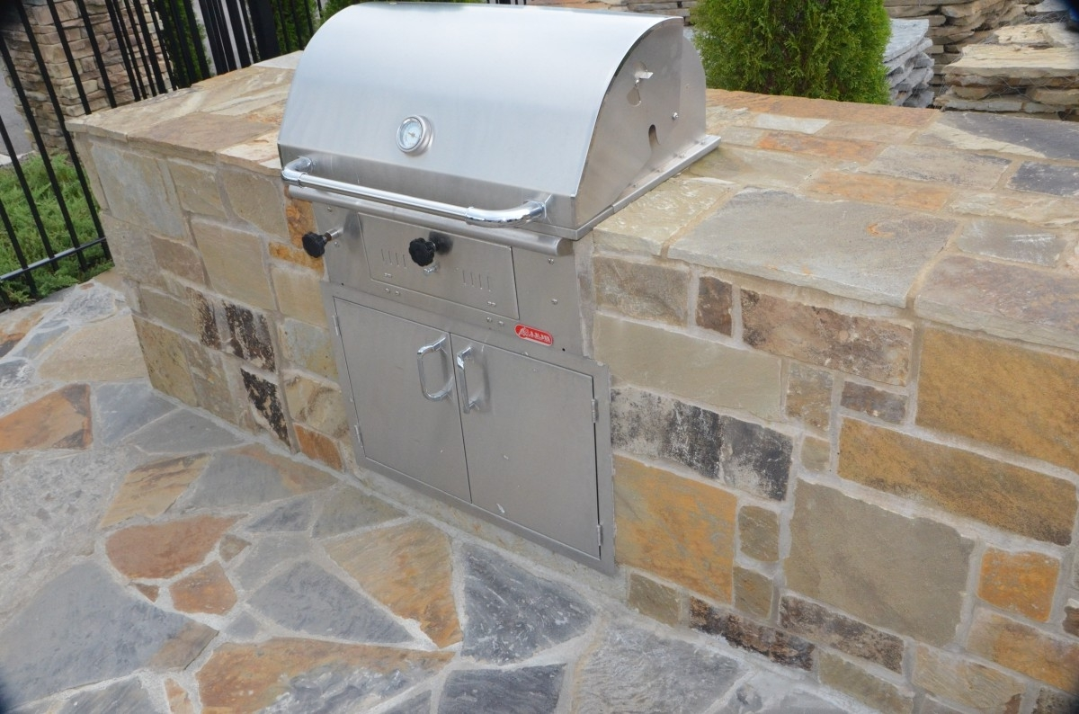Outdoor Kitchen Island Kits Concrete Outdoor Kitchen Island Cement Fance Grass Yard Kitchen Faucet Sink Metal Kitchen Appliance For Outdoor Kitchen Island Metal Roaster Gas Cooker Food (View 5 of 20)