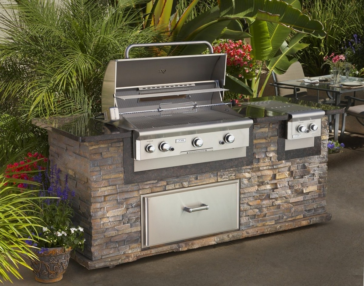 Outdoor Kitchen Island With Metal Outdoor Kitchen Appliance Gas Cooker Roaster Microwave Steamer Food Storage Cabinet Glass Dining Table With Seating Green Garden Plates Spoon Fork Knives (View 7 of 20)