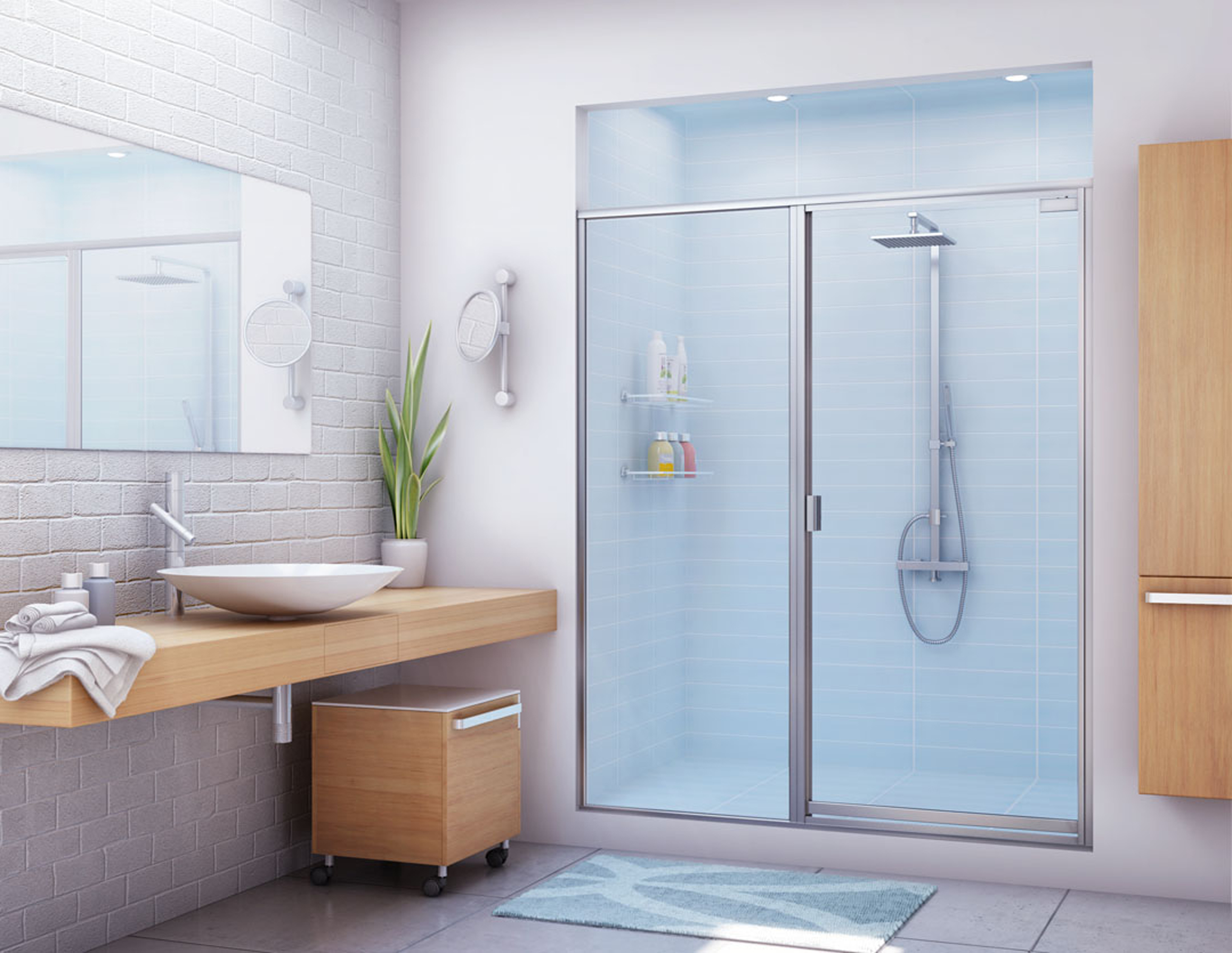 Sweet Glass Shower Door Design Bathroom Idea With White Shiwer Wall Open Shelves Wit Bottles And White Sink Marvelous Glass Shower Door Design Bathroom Ideas (View 7 of 23)