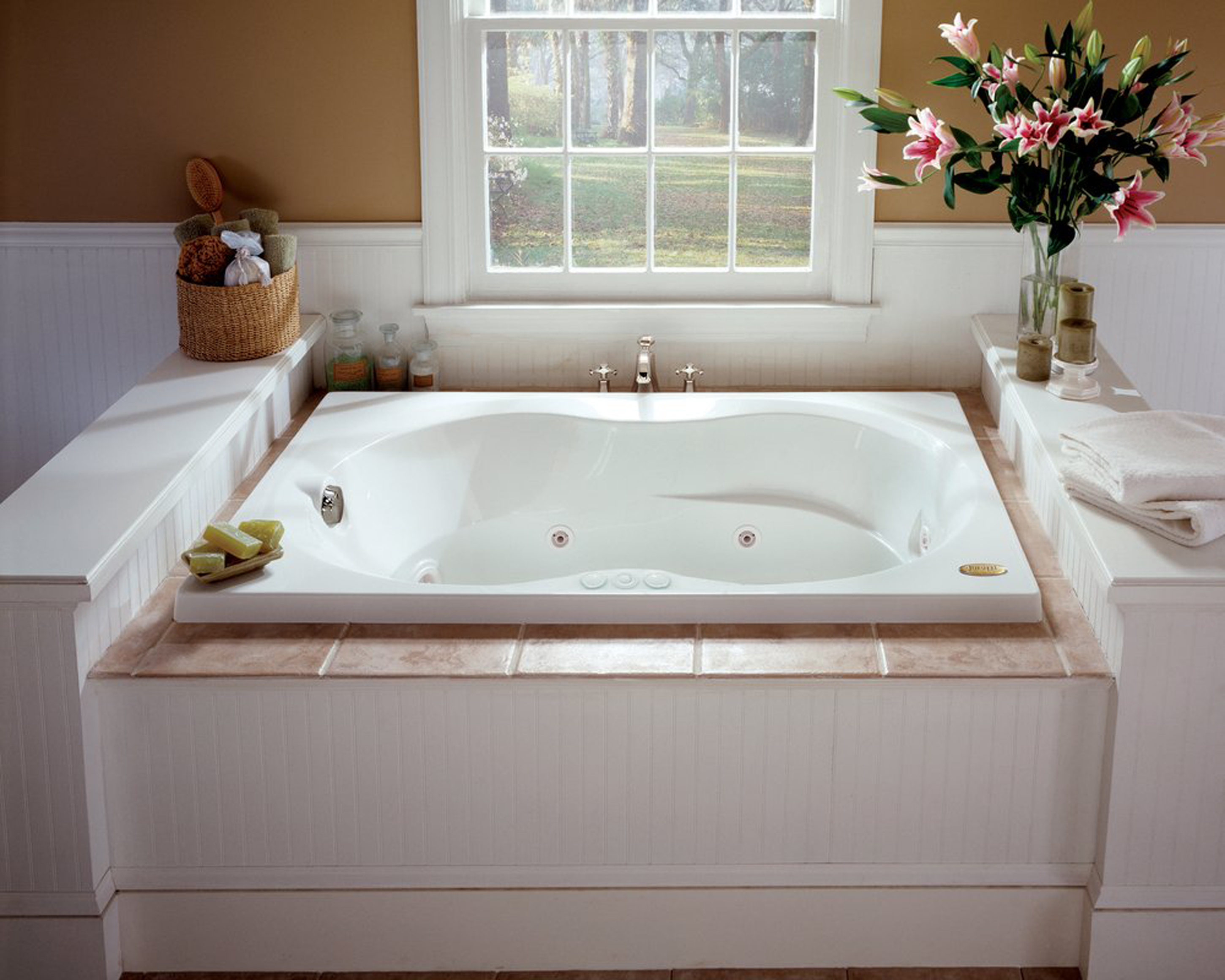 Sweet Modern Jacuzzi Tub Design Bathroom Idea In White With Pink Flowers In The Glass Vase Brown Wall And White Window Frame Elegant Modern Jacuzzi Tub Design Bathroom Ideas (View 8 of 23)