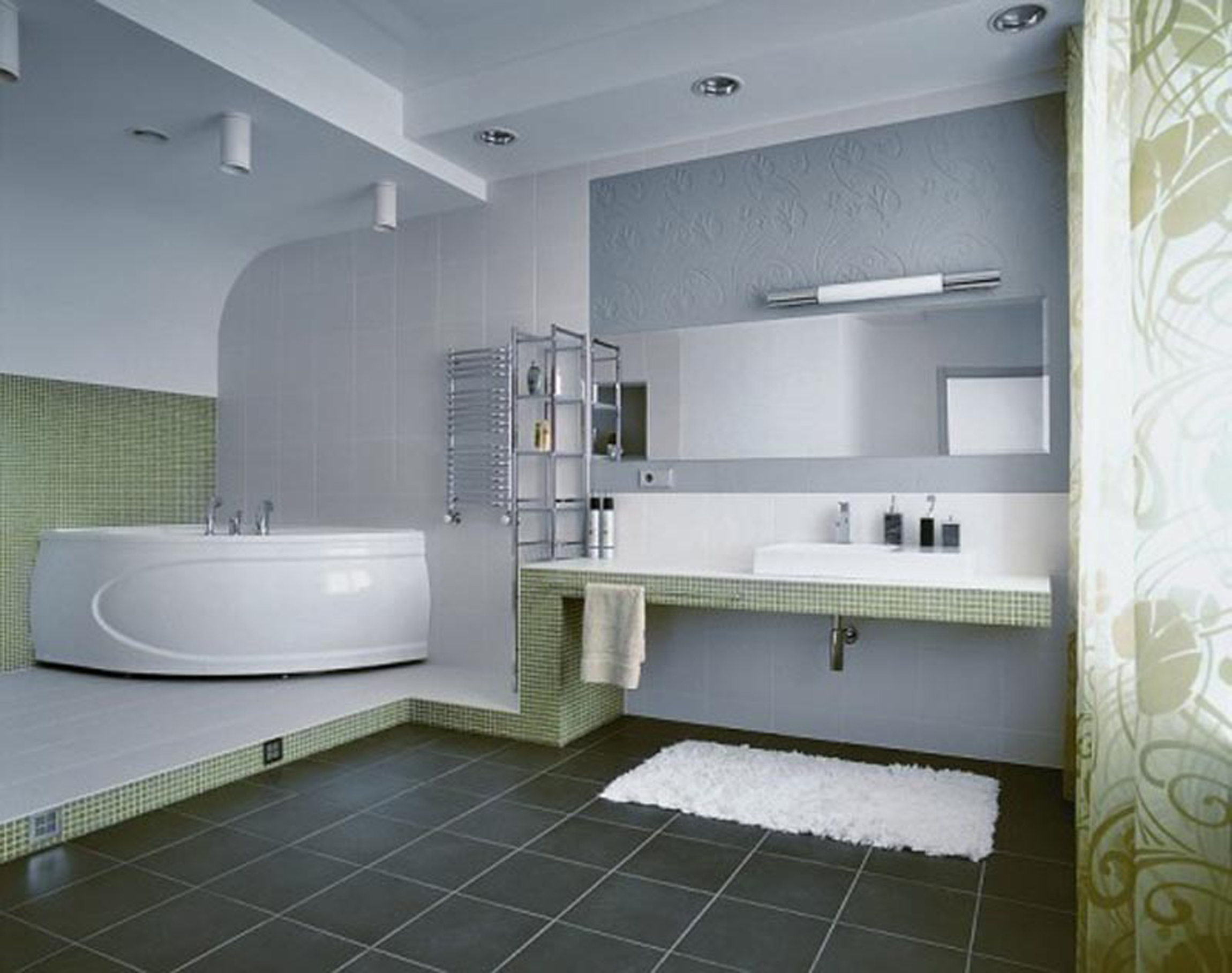 The Bathroom With Gray White And Green Color Looks So Fresh (View 12 of 23)