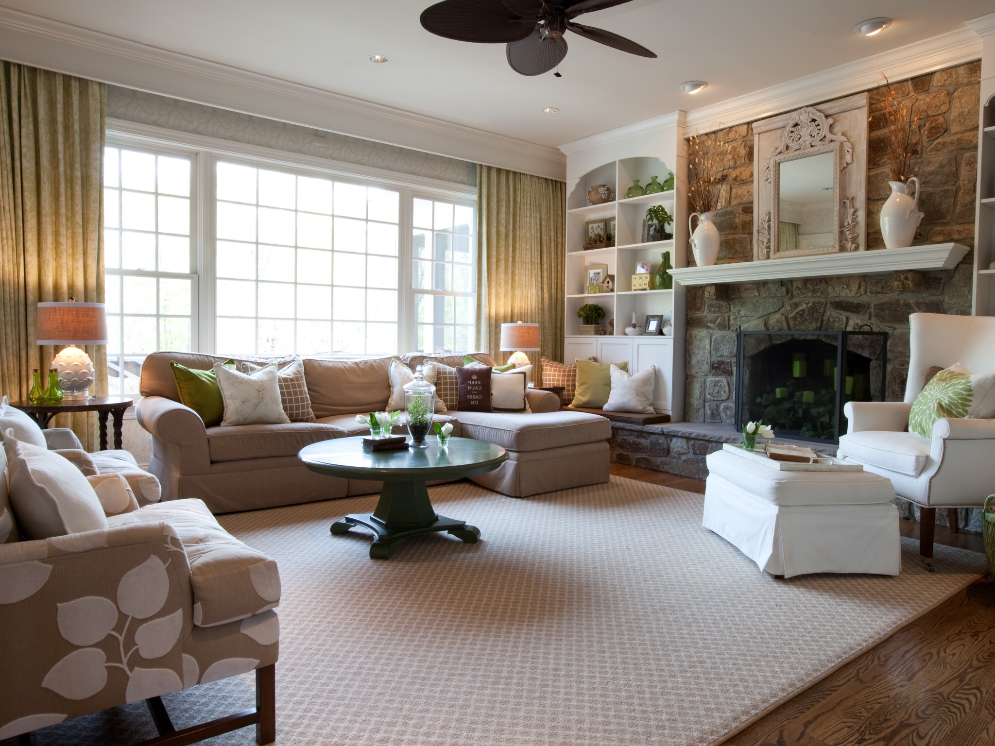 American Living Room in Country Style with Stone Fireplace
