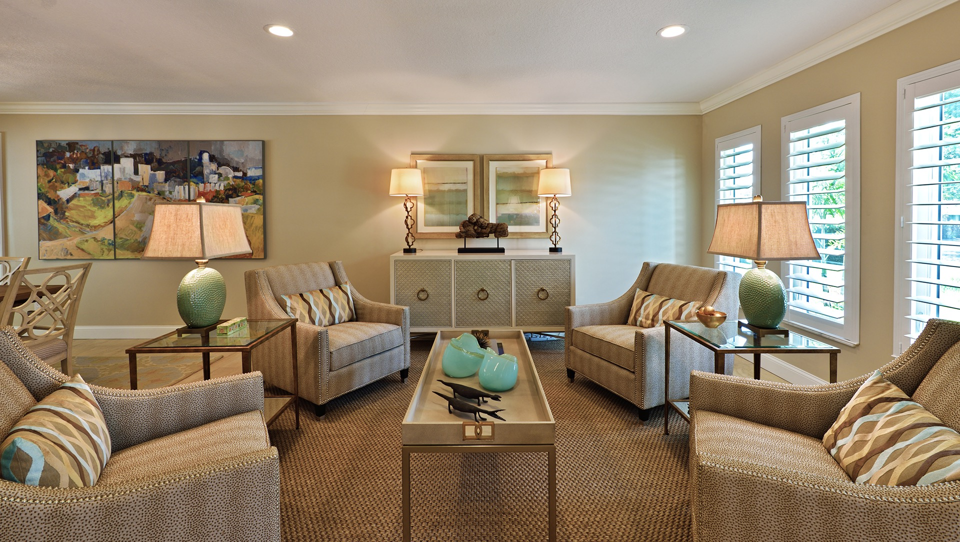 Brown Carpet Flooring For Classic Living Room Interior (Image 1 of 15)