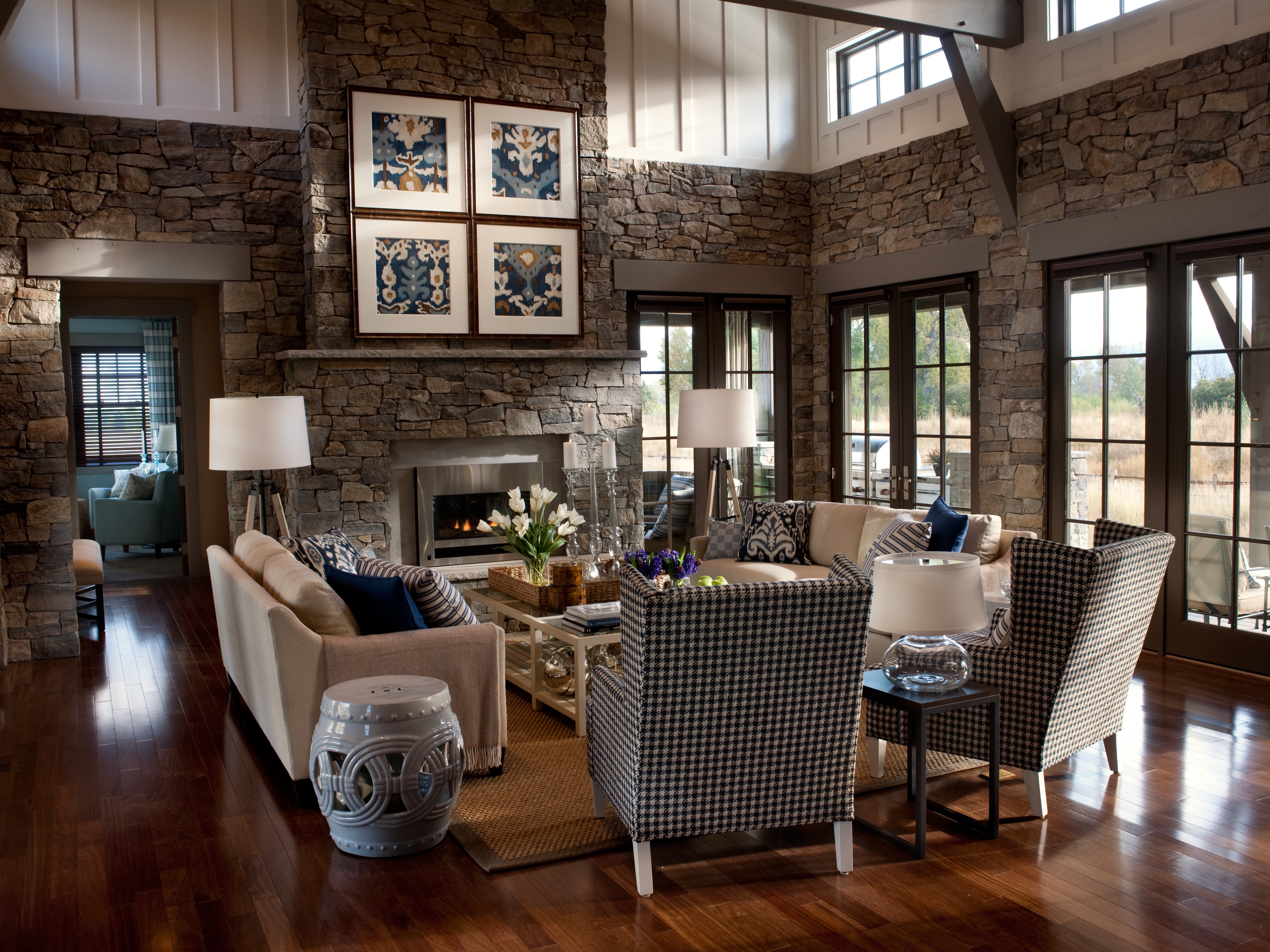 Classic Western Living Room With Stone Walls (View 6 of 18)