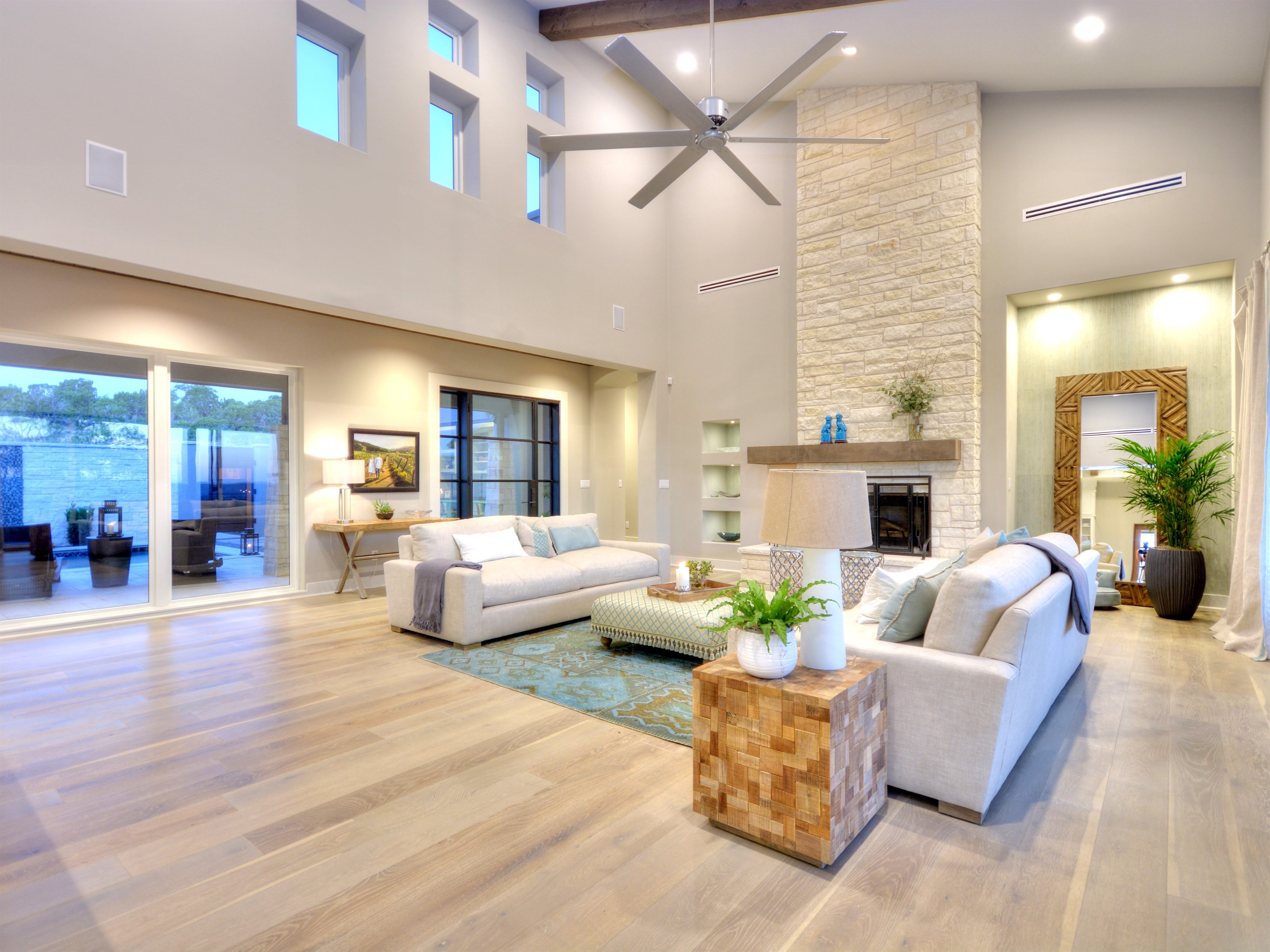 Contemporary Living Room With Light Hardwood Floors