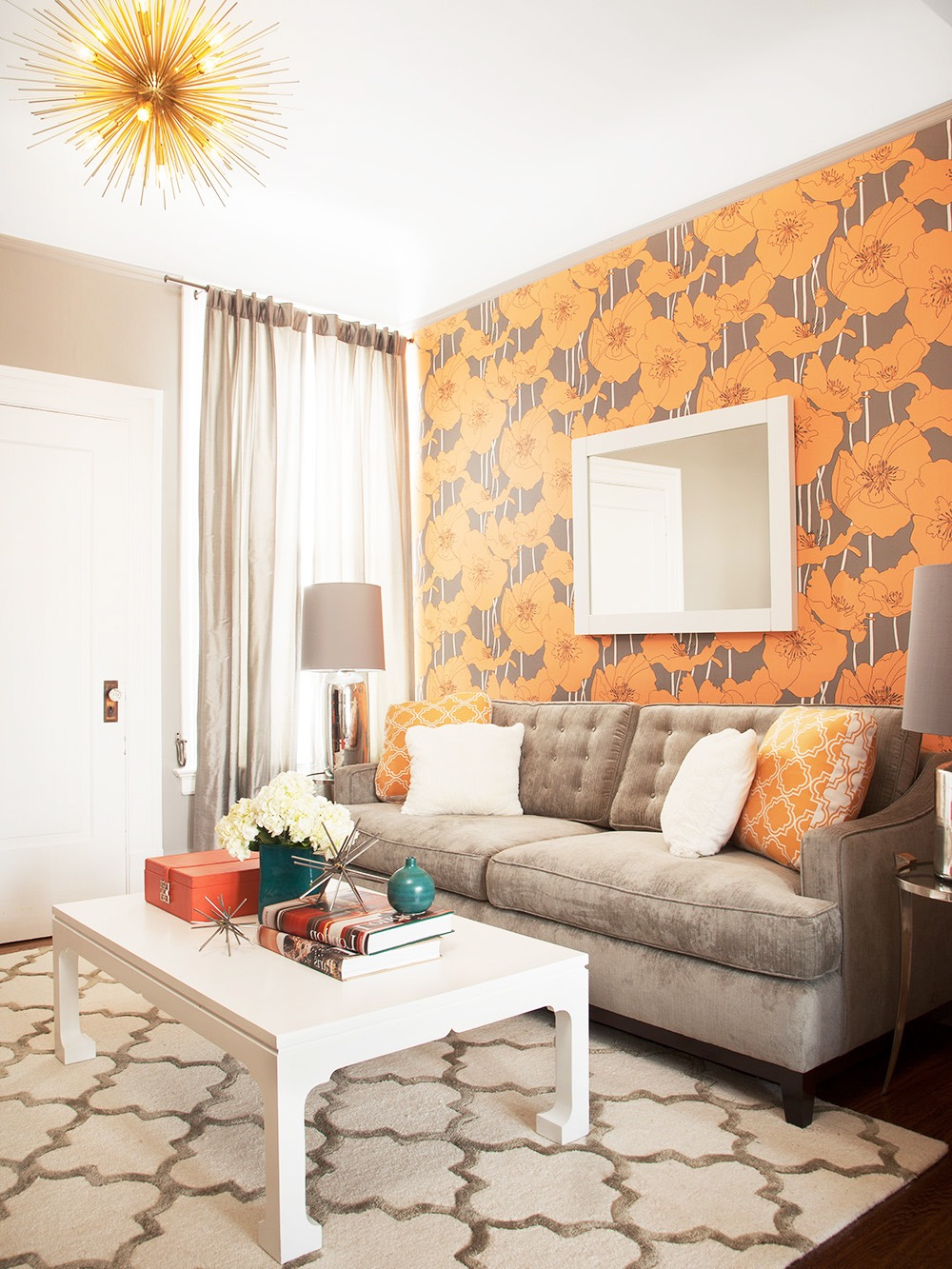Contemporary Moroccan Inspired Living Room With Neutral Sofa And Bold Floral Wallpaper (Image 5 of 25)