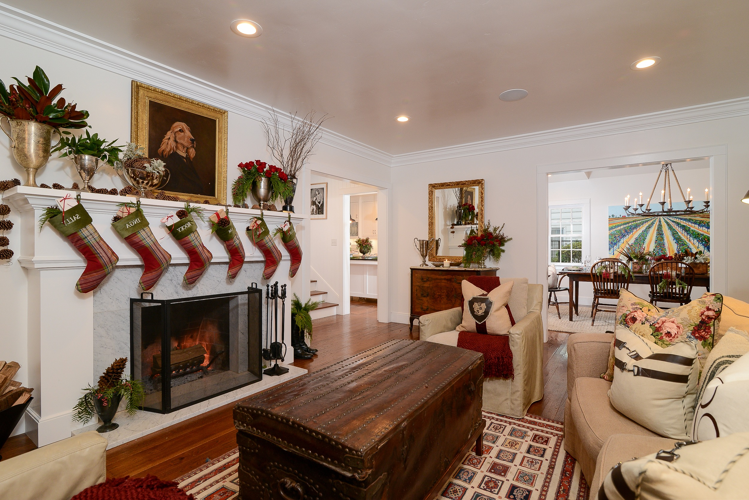 Country Christmas Living Room With Plaid Stockings (Image 4 of 18)