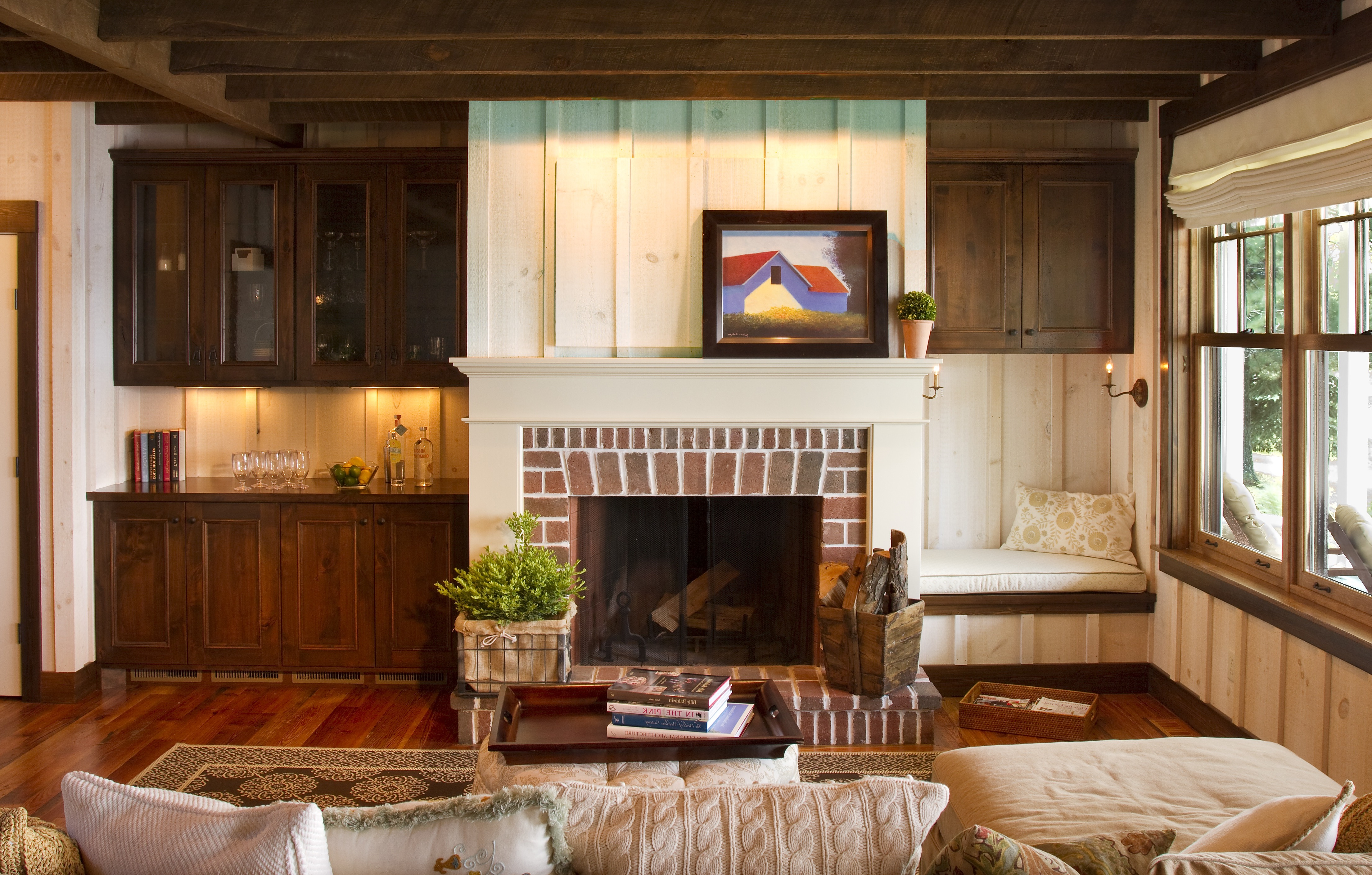 Cozy Country Living Room With Brick Fireplace (View 9 of 18)