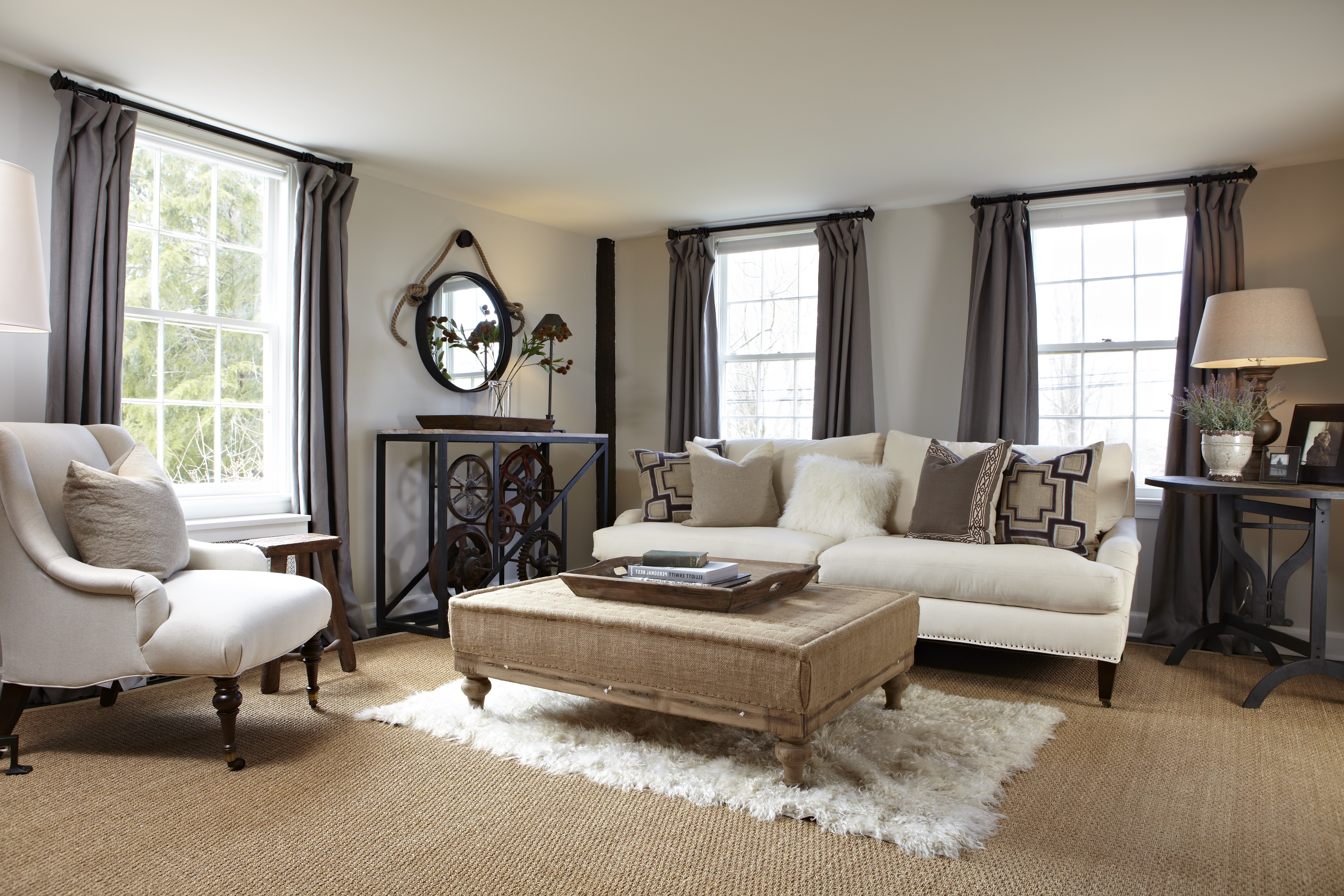 French Country Living Room With Gray Curtains (View 17 of 18)