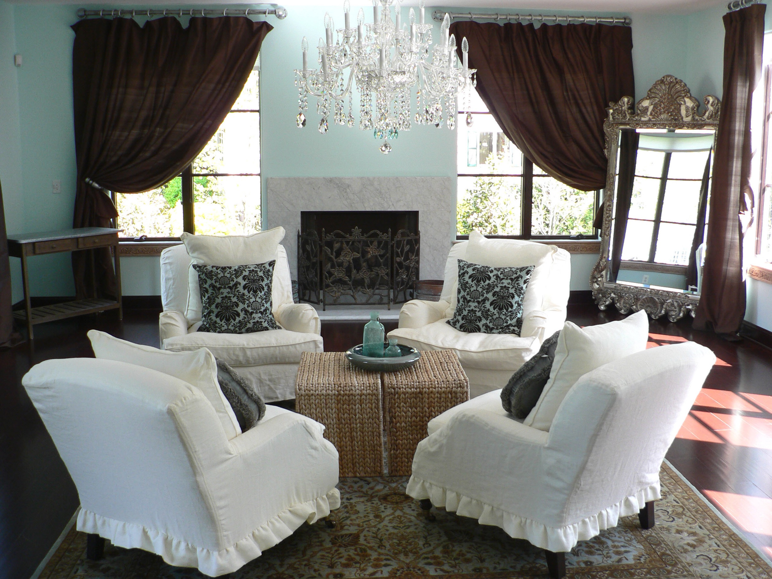 French Country Living Room With Rattan Table (Image 12 of 18)