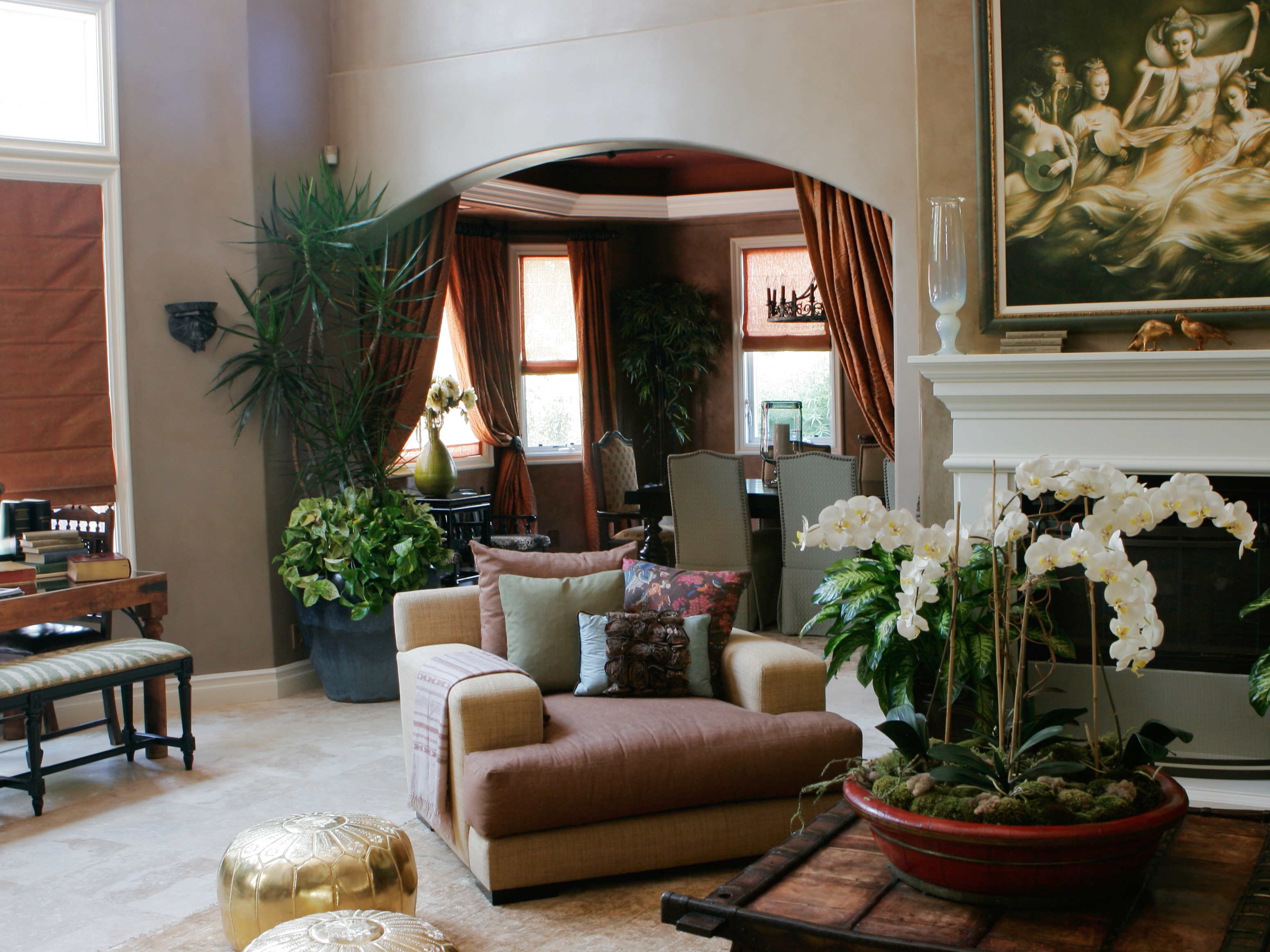 Moroccan Inspired Living Room With Copper And Taupe Color Scheme (Photo 10  of 25)