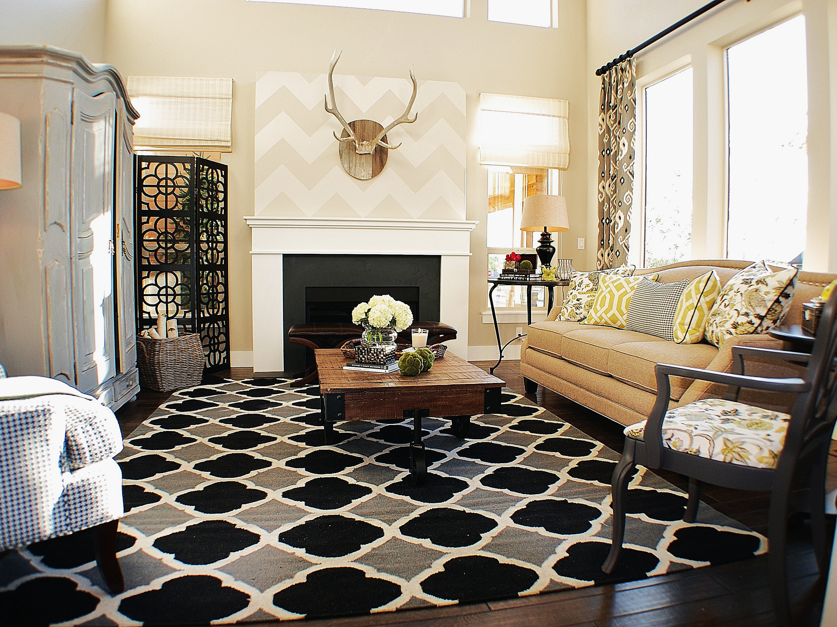 moroccan inspired living room with with black and yellow accents