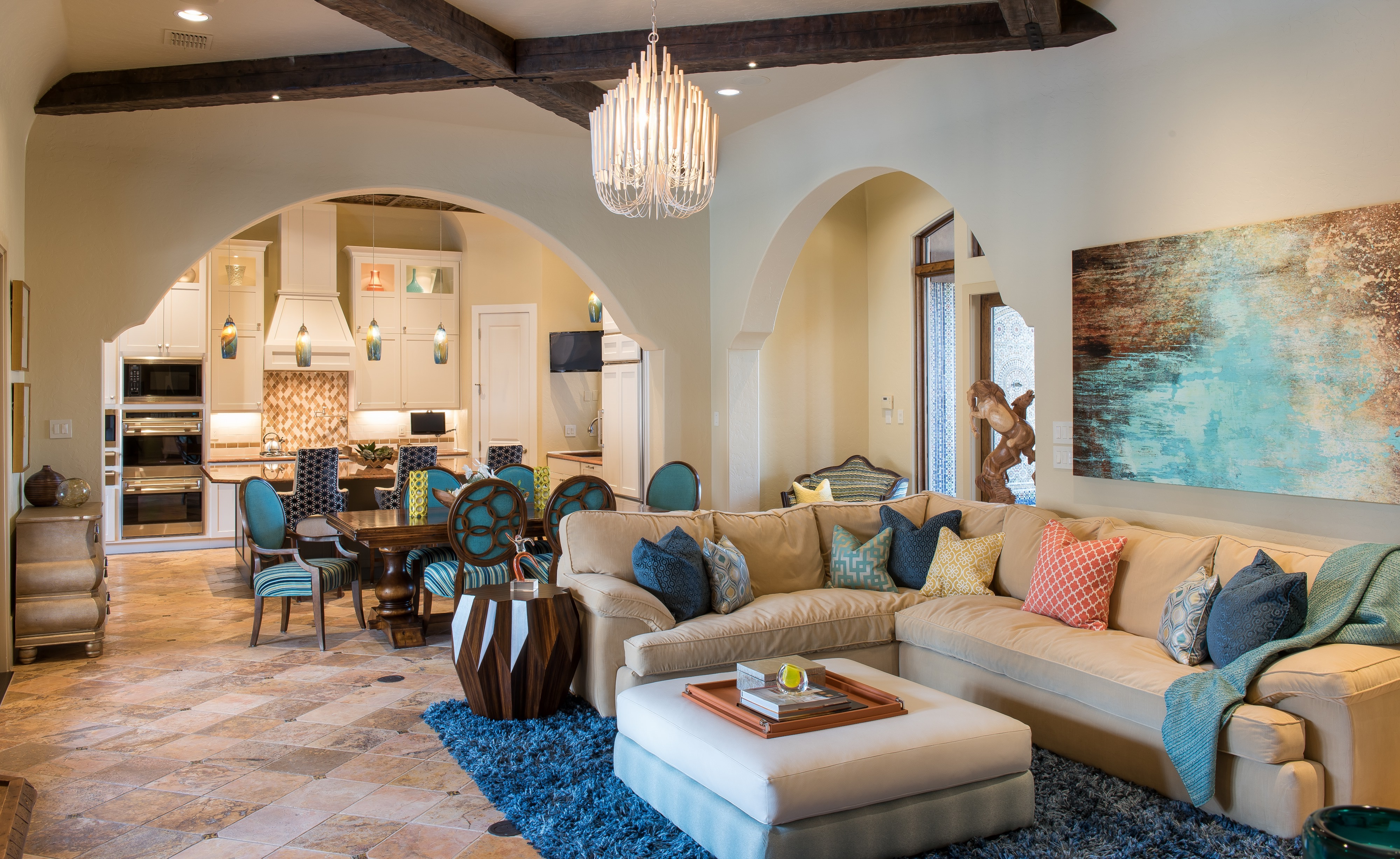 Moroccan Inspired Living Room And Dining Room Combo With Beige Sectional And Blue Accents (Image 13 of 25)