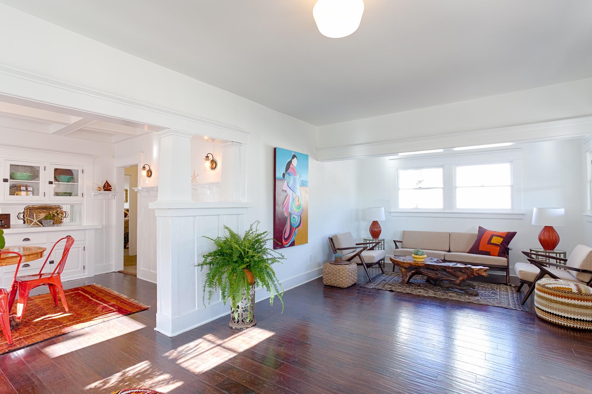 Neutral Midcentury Living Room With Dark Wood Floor (Image 8 of 15)