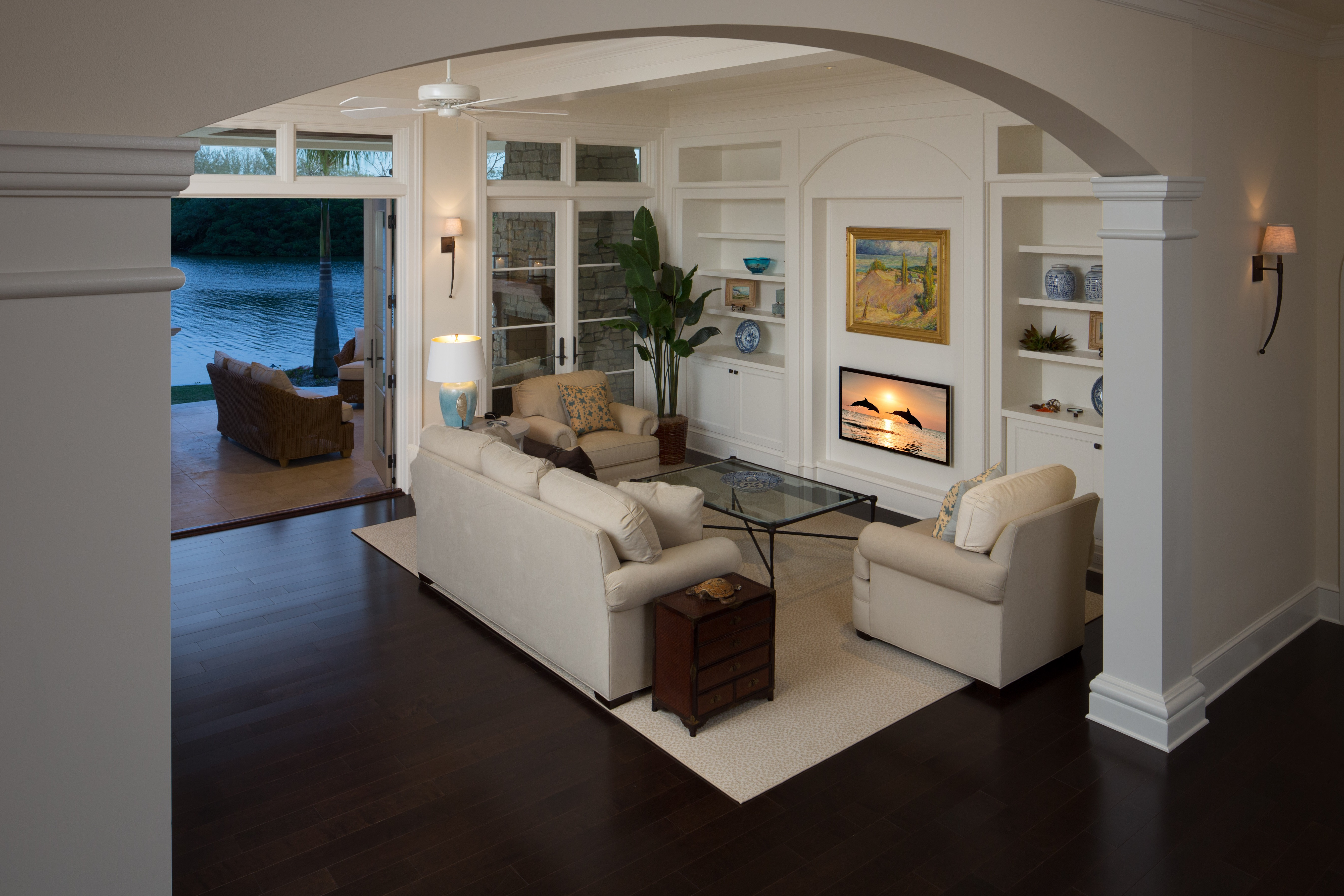 Open Family Room With Dark Hardwood Flooring (Image 9 of 15)