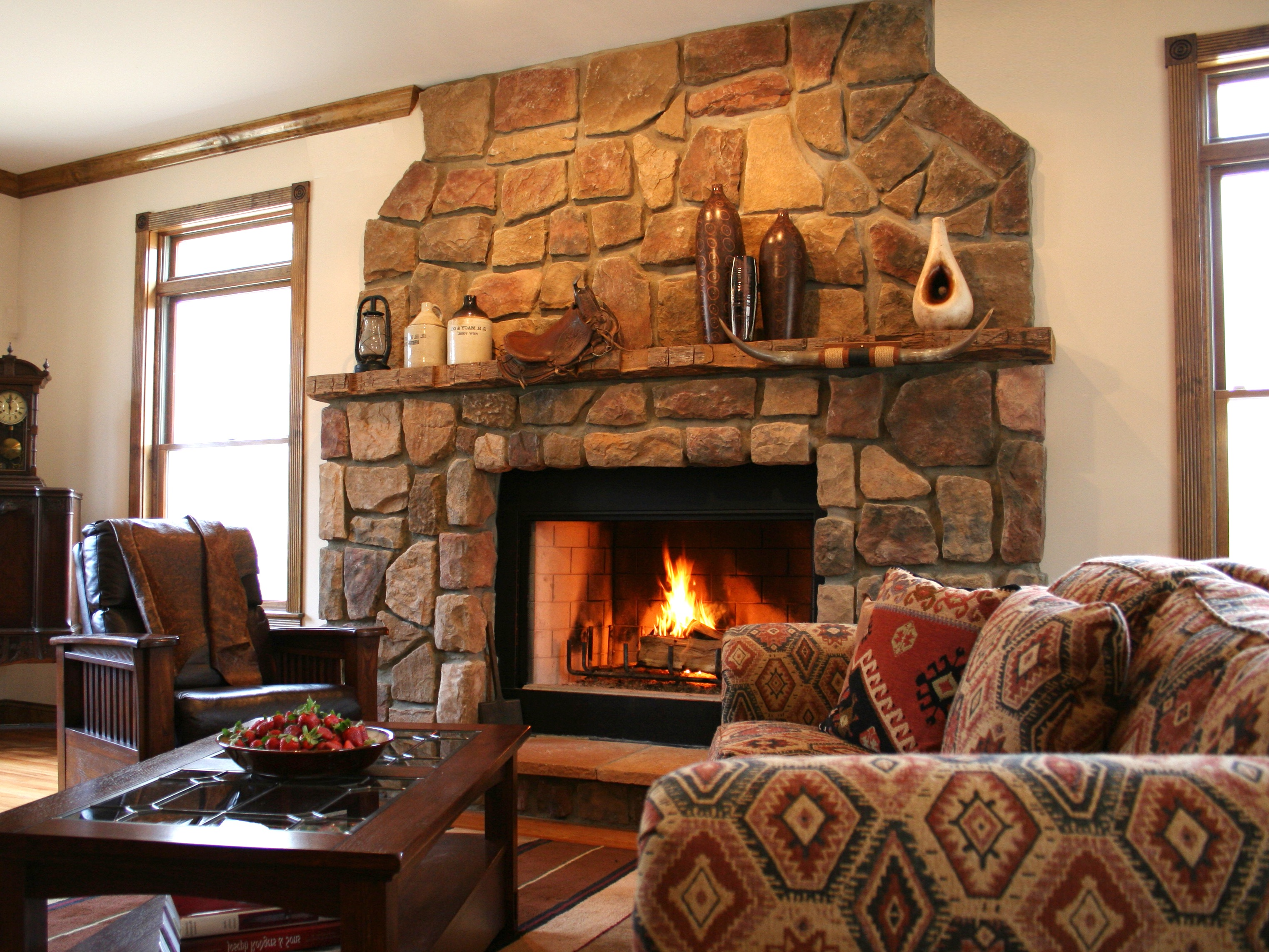 Rustic Western Living Room with Stone Fireplace
