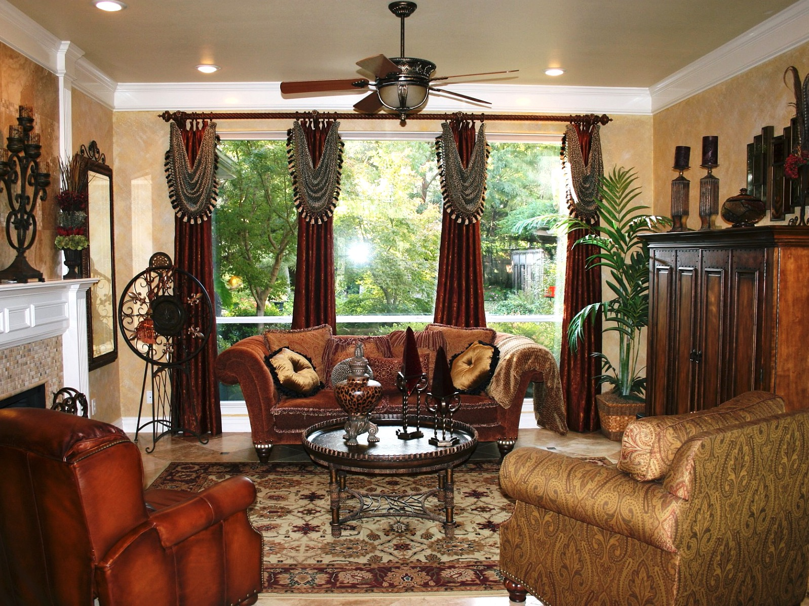 Western Living Room With Velvet Sofa And Old World Rug (View 4 of 18)