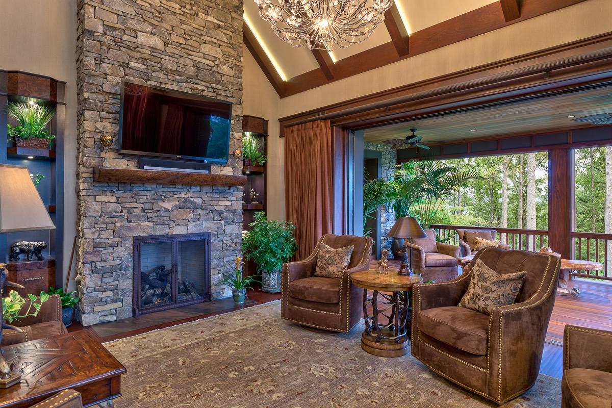 Rustic Western Living Room Interior Decor Style Custom Home Design