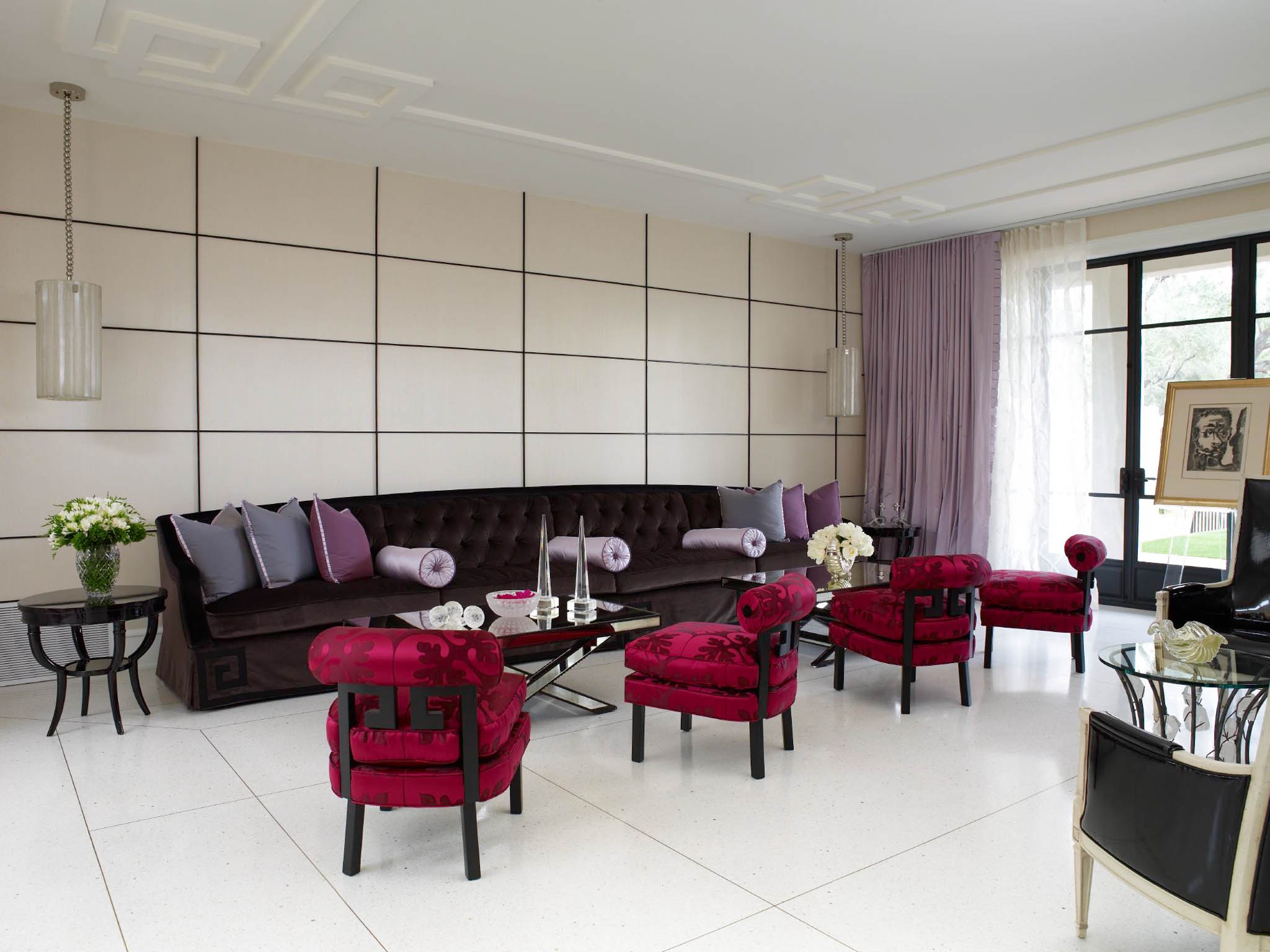 White Art Deco Living Room With Ceramic Flooring (View 15 of 15)