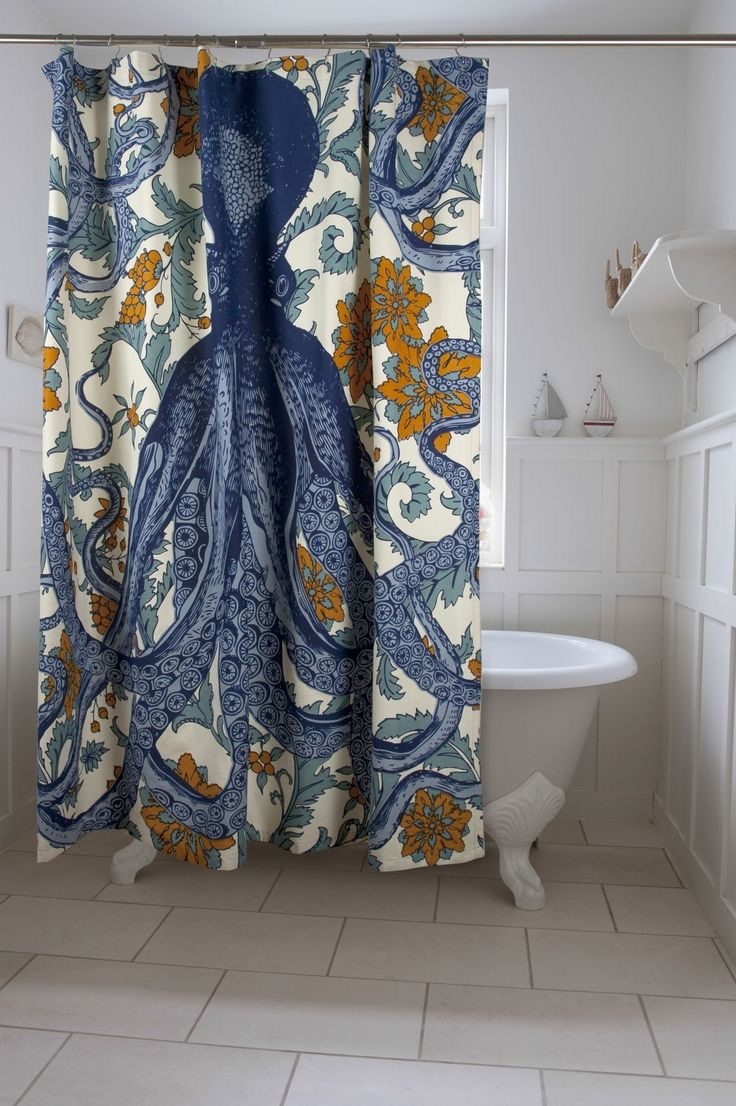 Artistic Pattern Modern Bathroom Shower Curtain (Image 1 Of 15)