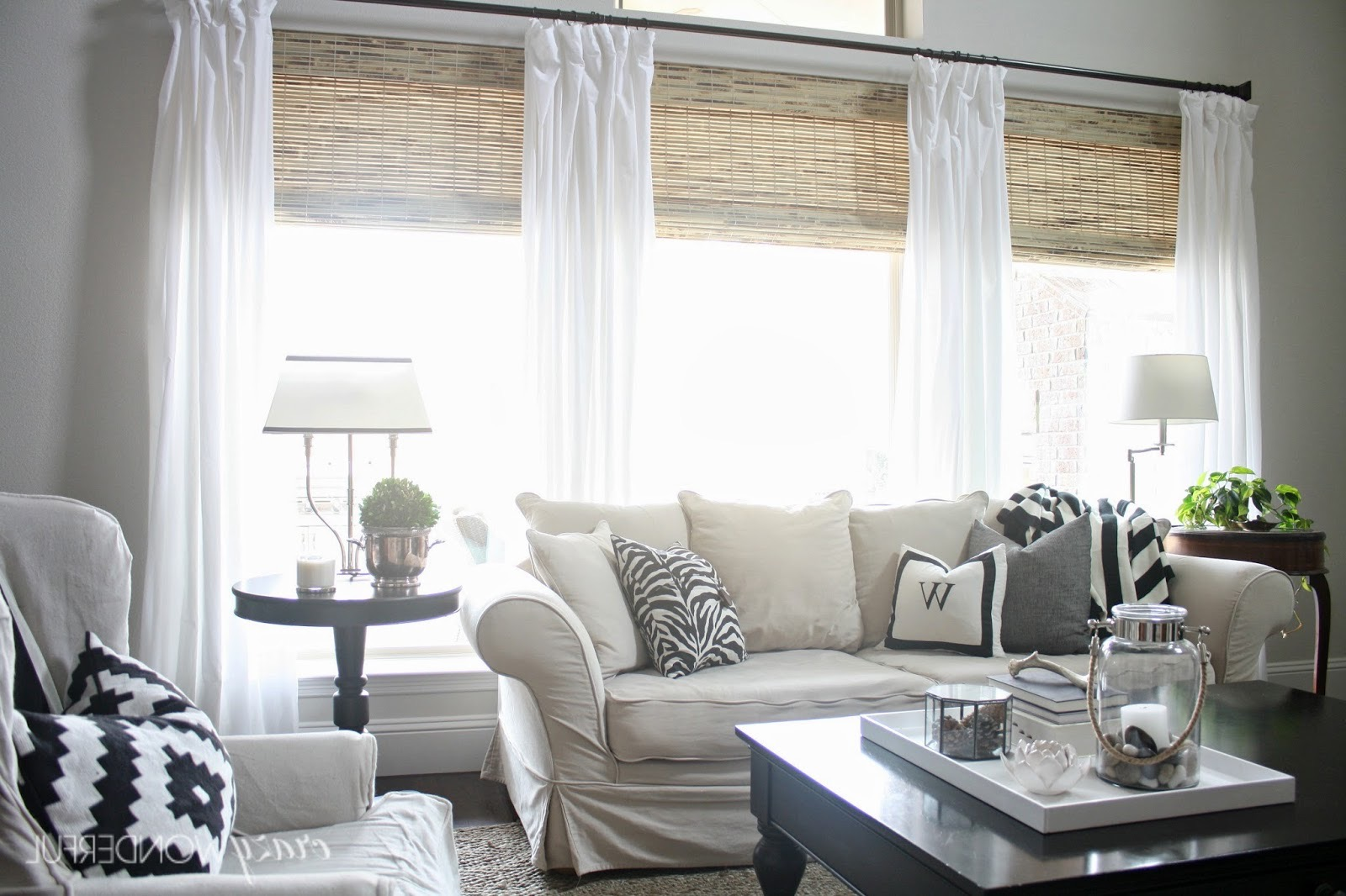 Bamboo Curtain And White Sheer Curtain Combo For Living Room (Image 1 of 20)