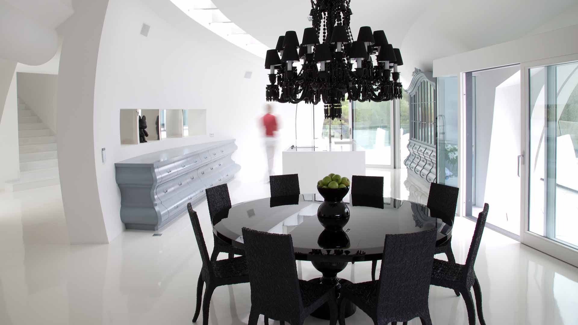 Black dining room chandeliers - Beauty Black Chandelier And Black Dining Room Chairs And Table Furniture In Modern Design Image