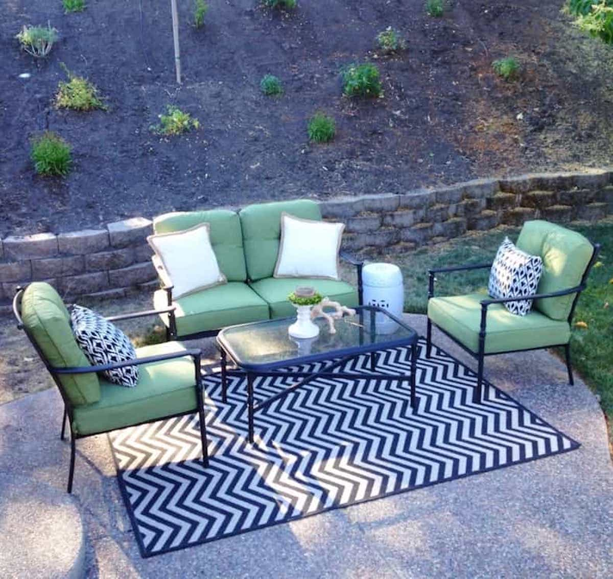 Black And White Geometric Pattern Small Outdoor Rugs For Patios (Image 2 of 15)