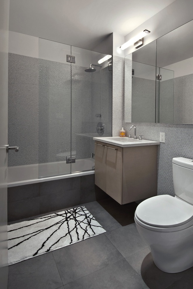 Black White Contemporary Shower Mats (Image 2 of 15)