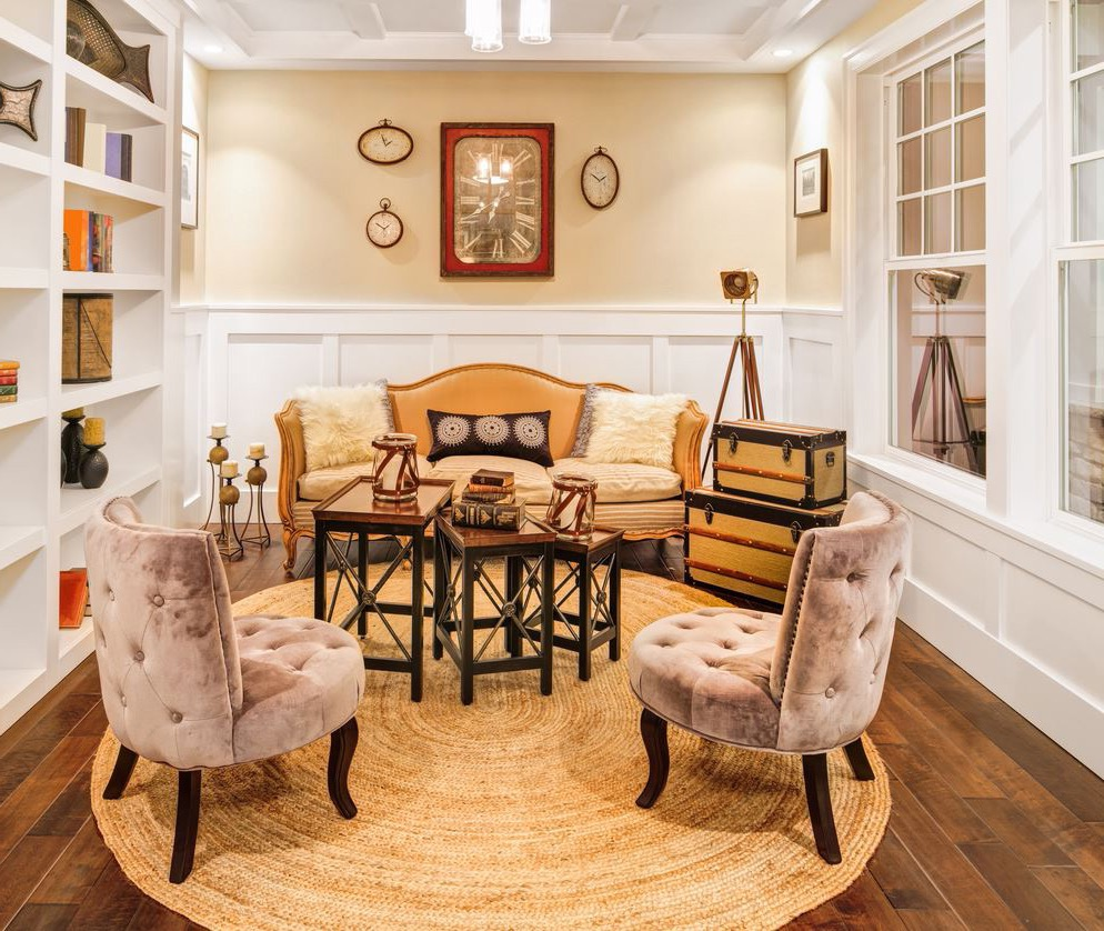 Circular Braided Rug Decor For Country Style Living Room (View 9 of 15)