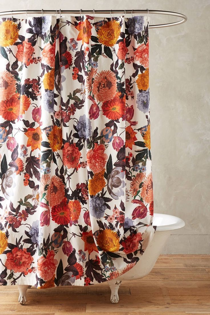 Classic Floral Bathroom Shower Curtain (Image 3 of 15)