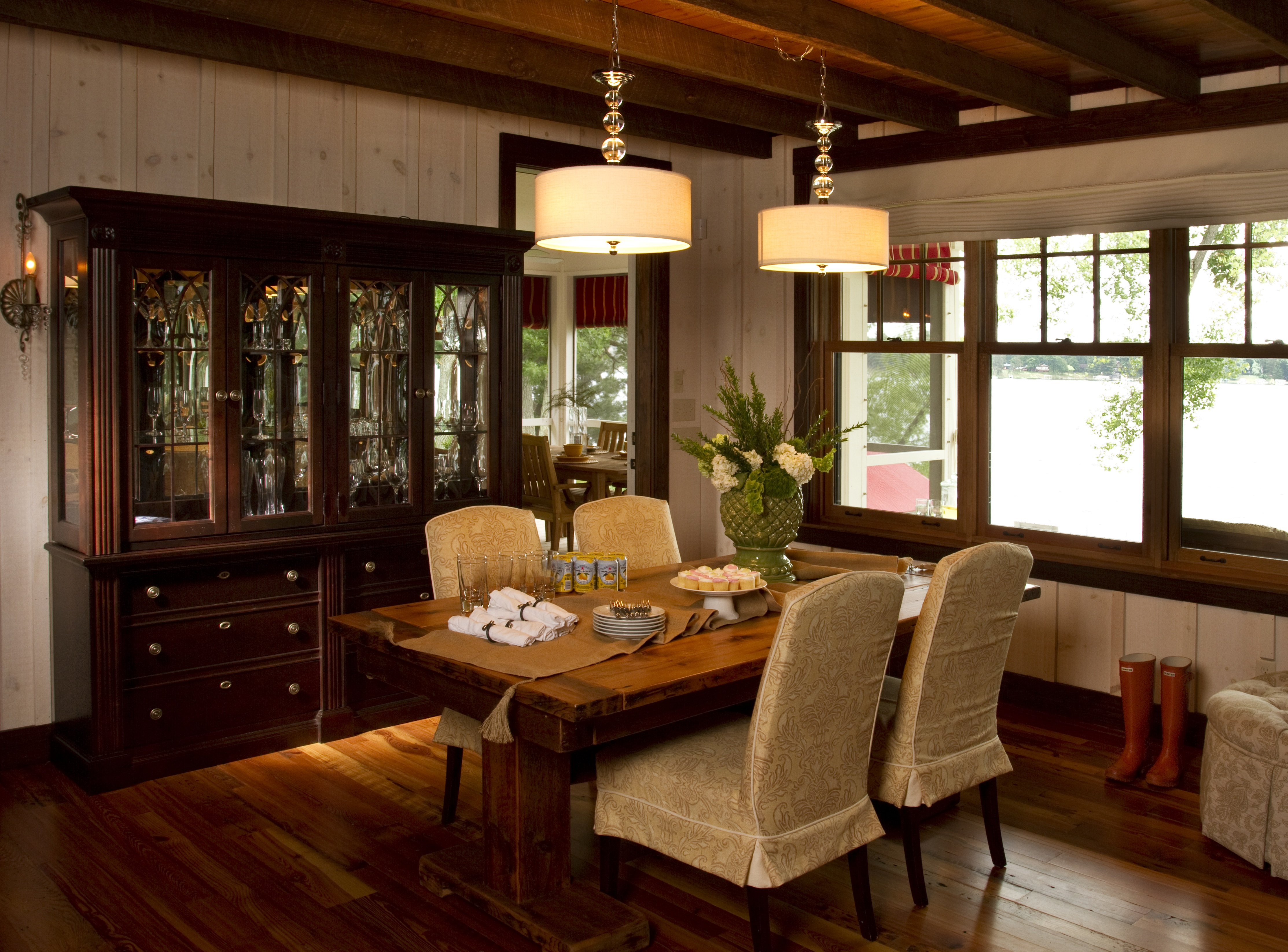 Classic Formal Dining Room With Hanging Pendant Lights (Image 6 of 20)