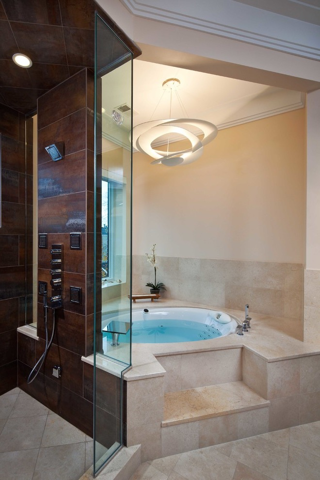 Classic Modern Circular Walk In Tubs With Contemporary Lighting (Image 2 of 15)
