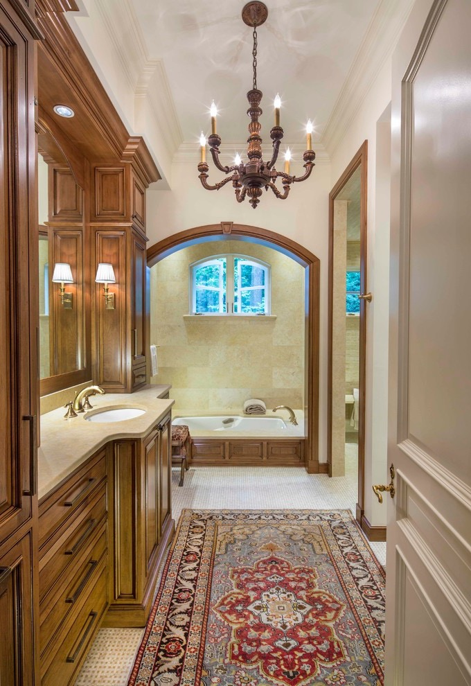 Classic Persian Rug Decor For Wooden Bathroom (View 6 of 15)