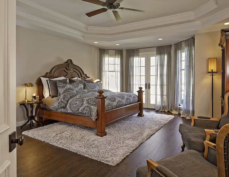 Classic Shag Rug For Transitional Master Bedroom With Double Tray Ceiling (Image 2 of 15)