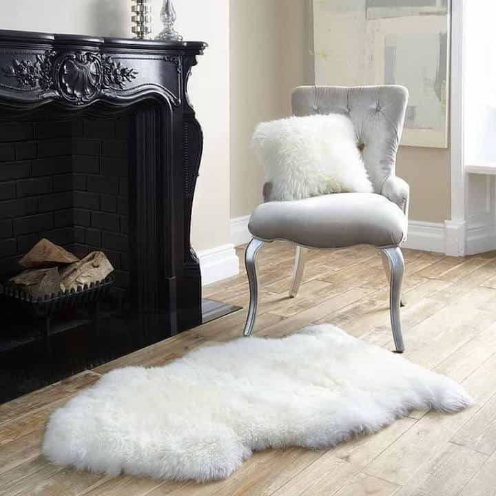 Classic Sitting Room With Royal Dream Large Sheepskin Rug (Image 3 of 15)