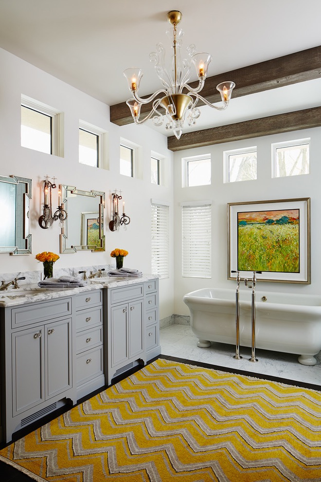 Classic Traditional Bathroom With Modern Yellow Rug (View 7 of 15)