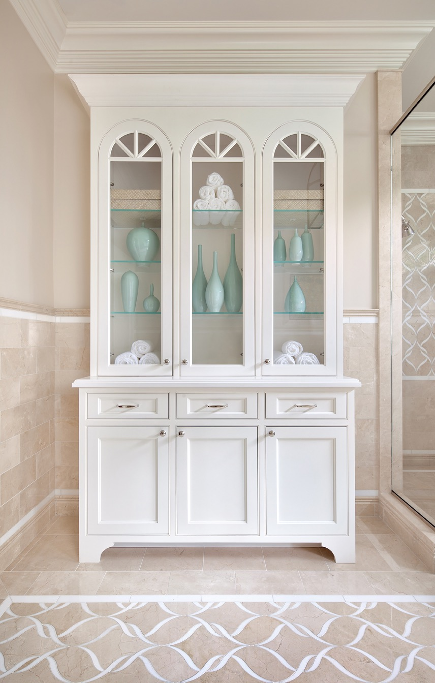 Classic White Storage Cabinet For Elegant Bathroom (View 16 of 20)