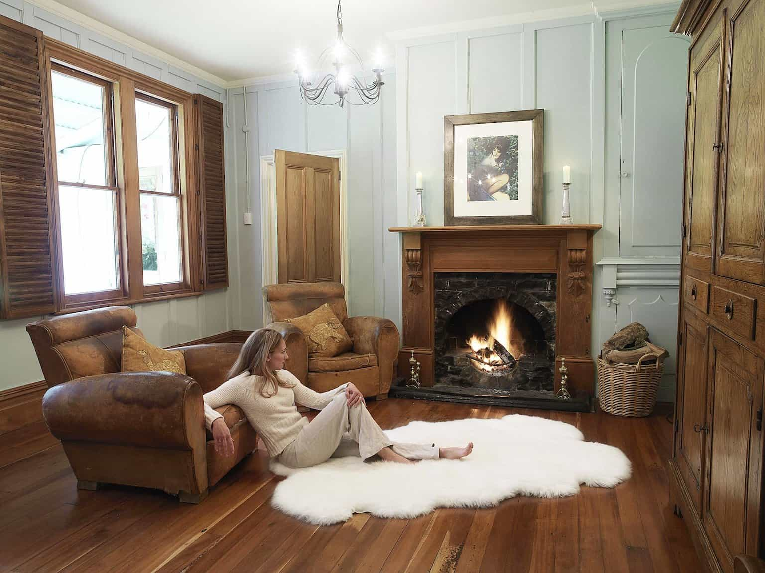 Classic Wooden Living Room With Quarto Sheepskin Rug 4× (Image 4 of 15)