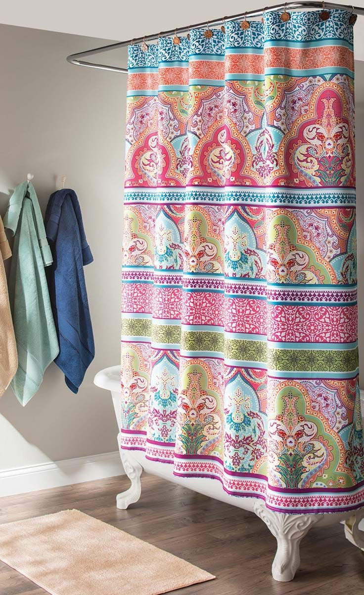 Colorful Shower Curtain With Beauty Pattern (Image 4 of 15)